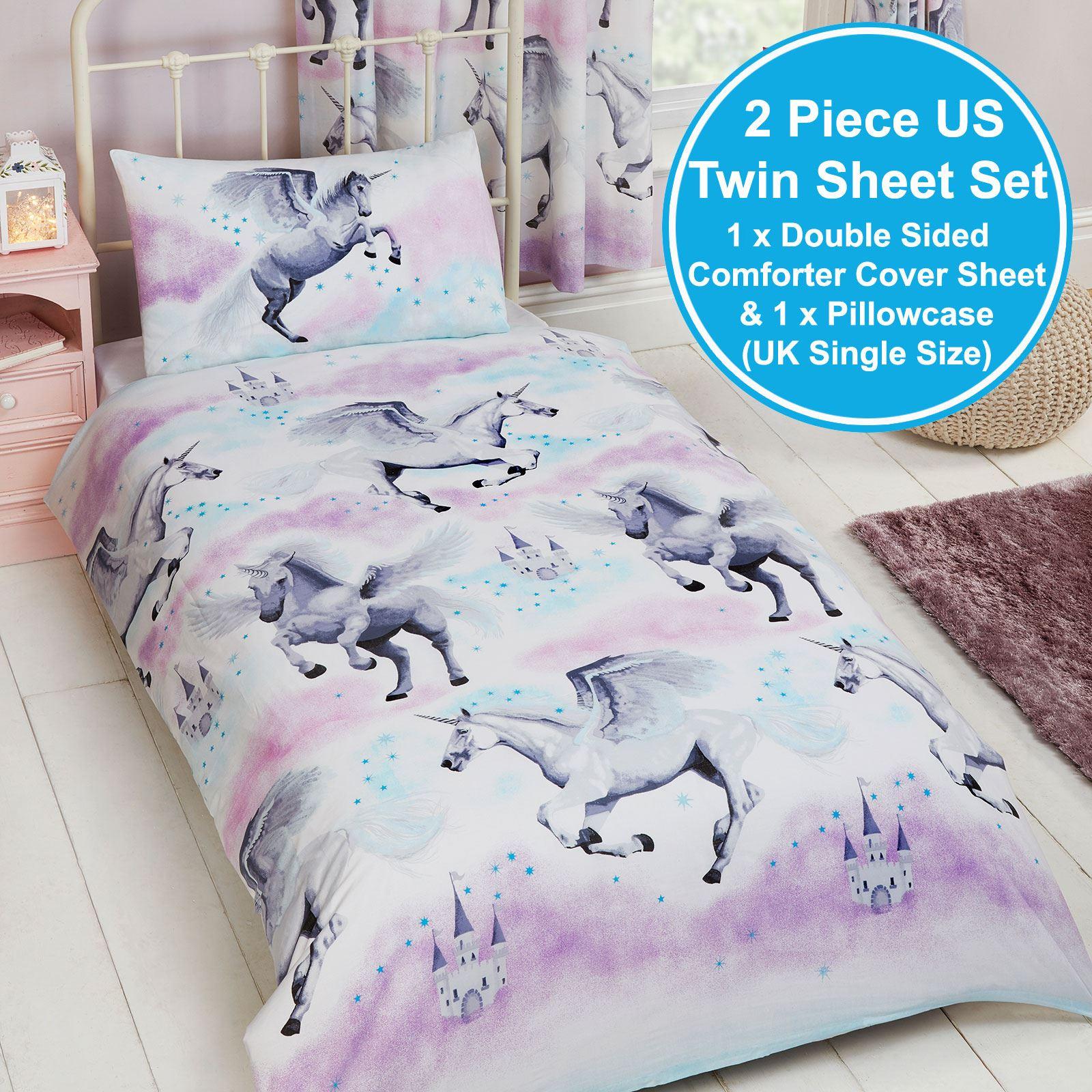 Stardust Unicorn Single Duvet Cover Set Bedding Girls