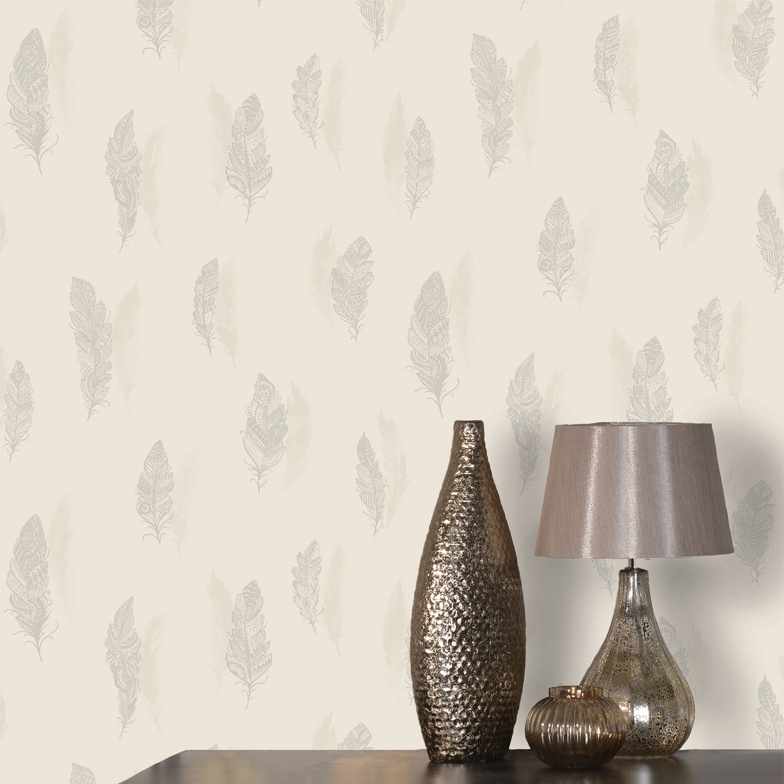 Image is loading BEAUTIFUL QUILL FEATHER WALLPAPER HOLDEN DECOR CREAM SILVER. BEAUTIFUL QUILL FEATHER WALLPAPER   HOLDEN DECOR   CREAM   SILVER