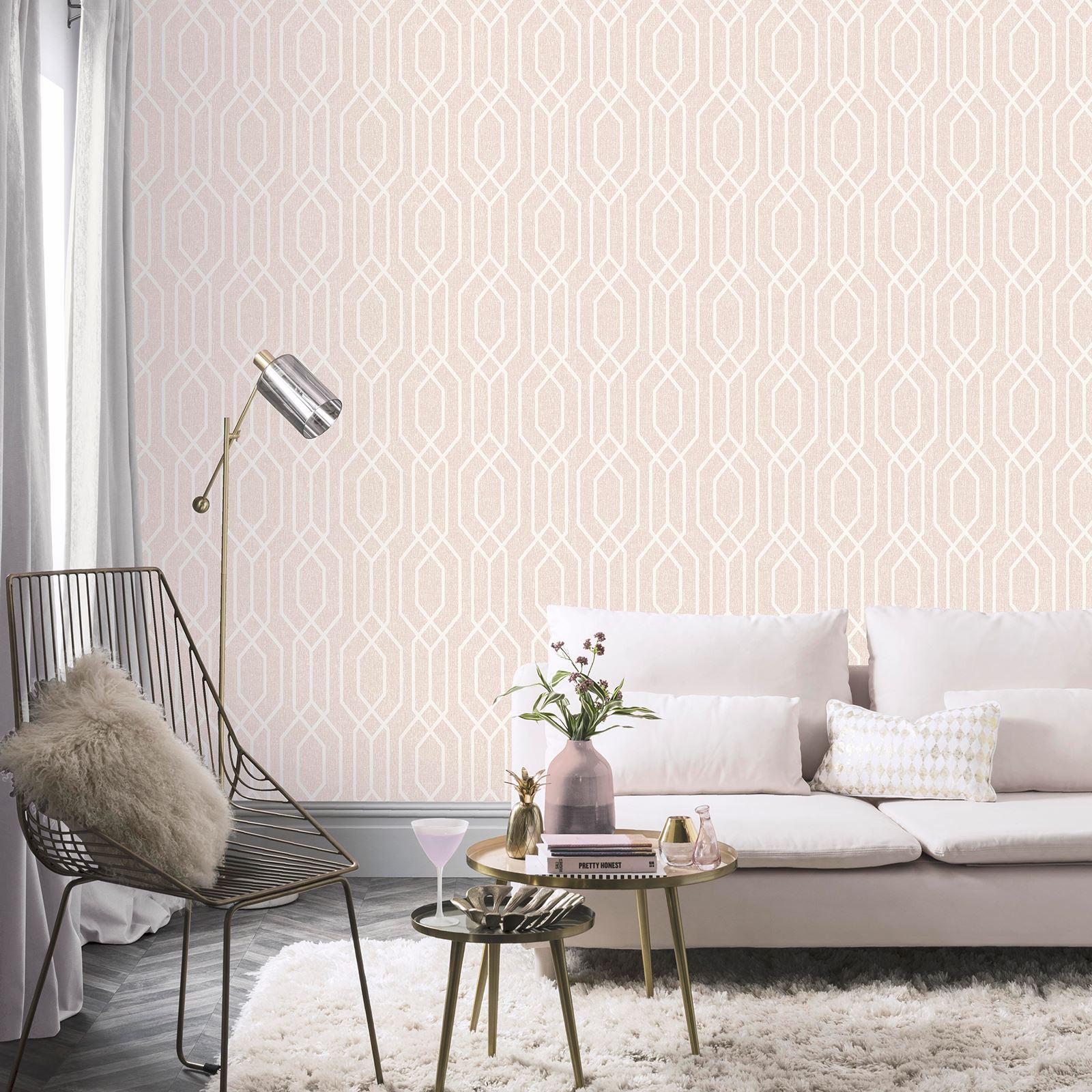 Geometric Abstract Hexagon Shapes Arthouse New York Geo Pink Wallpaper 908208