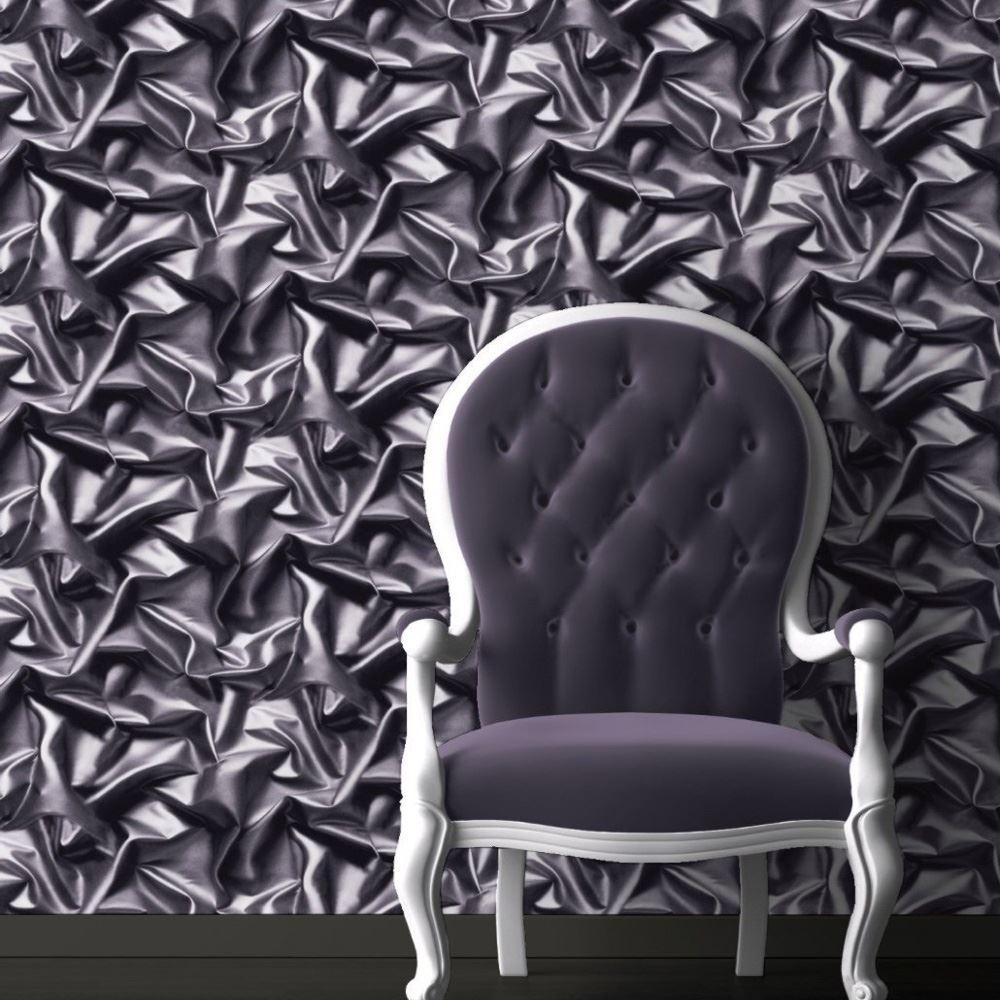 Muriva Silk Effect Wallpaper Gold Black Purple Feature