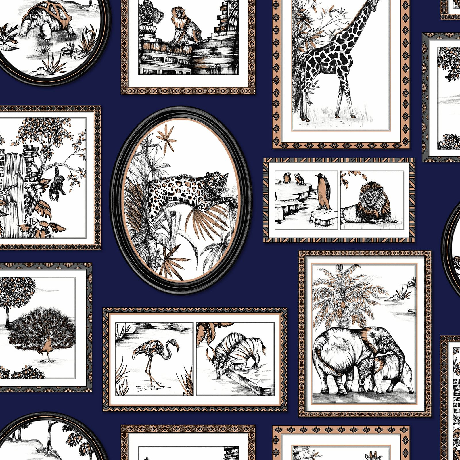 Safari Frames Wallpaper Navy / Copper - Holden 90072 | eBay