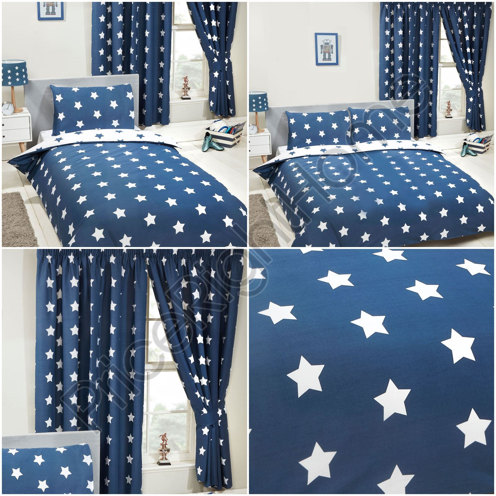 Navy Blue White Stars Curtains Duvet Cover Fitted Sheet