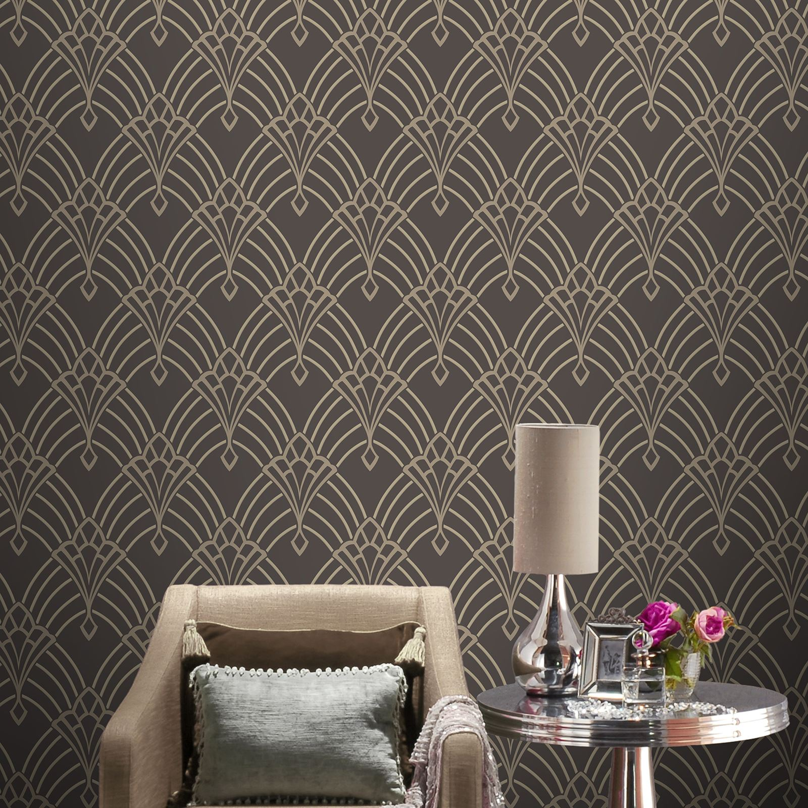 Rasch Astoria Art Deco Geometric Wallpaper Glitter Silver Gold White