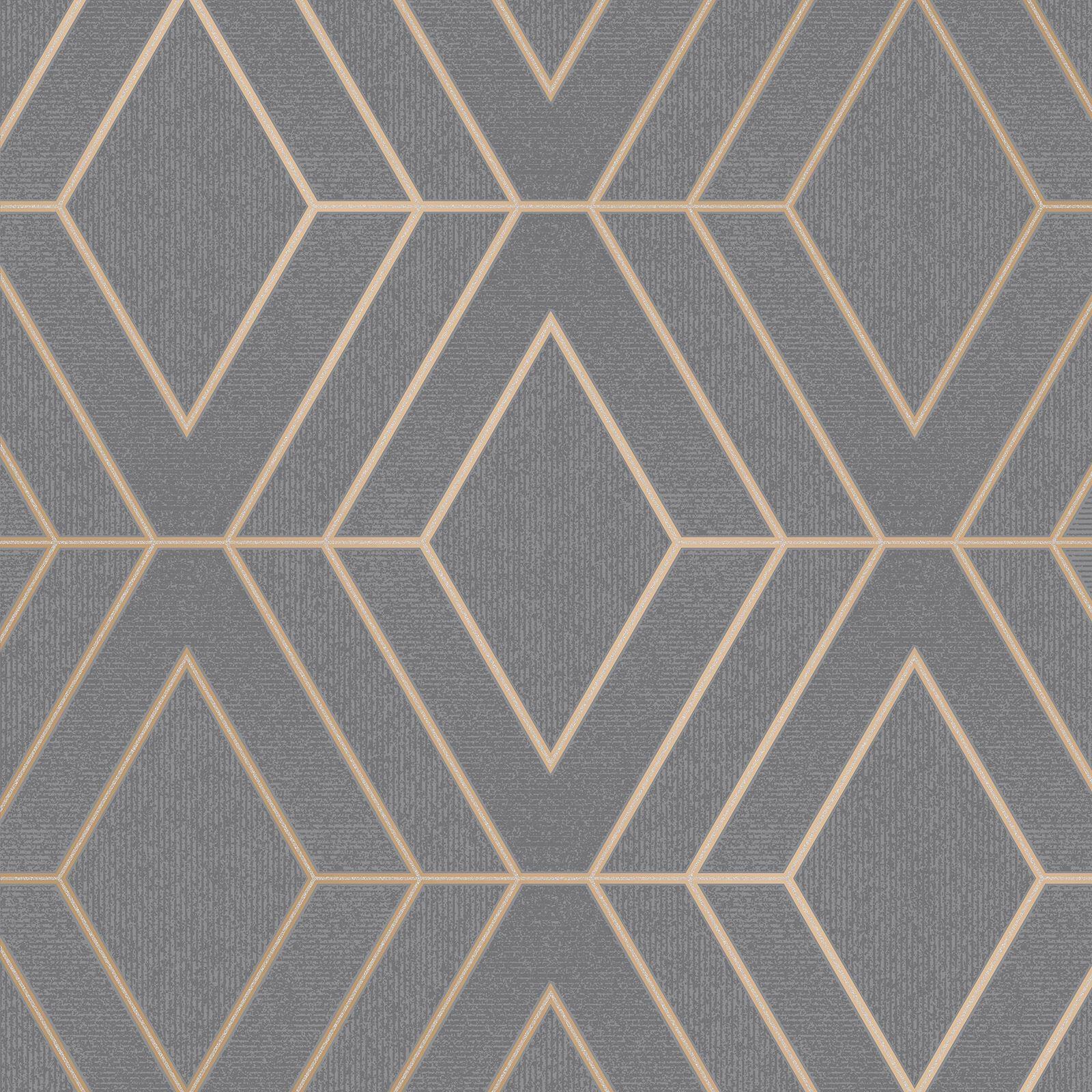 16 Rose Gold And Copper Details For Stylish Interior Decor: GEOMETRIC WALLPAPER MODERN DECOR TRIANGLES TRELLIS SILVER