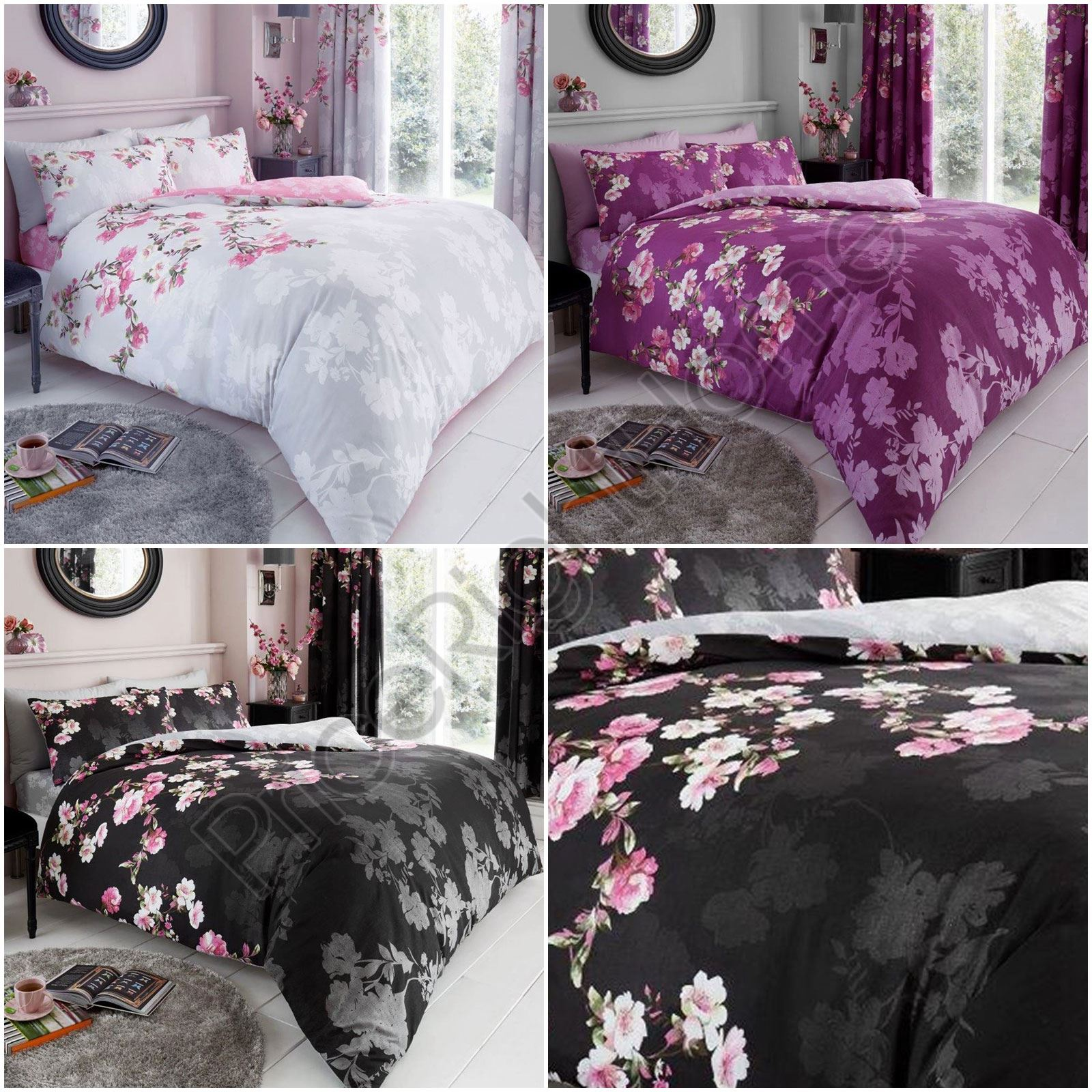 Roseanne Flower Duvet Quilt Cover Polycotton Floral Printed Bedding Set