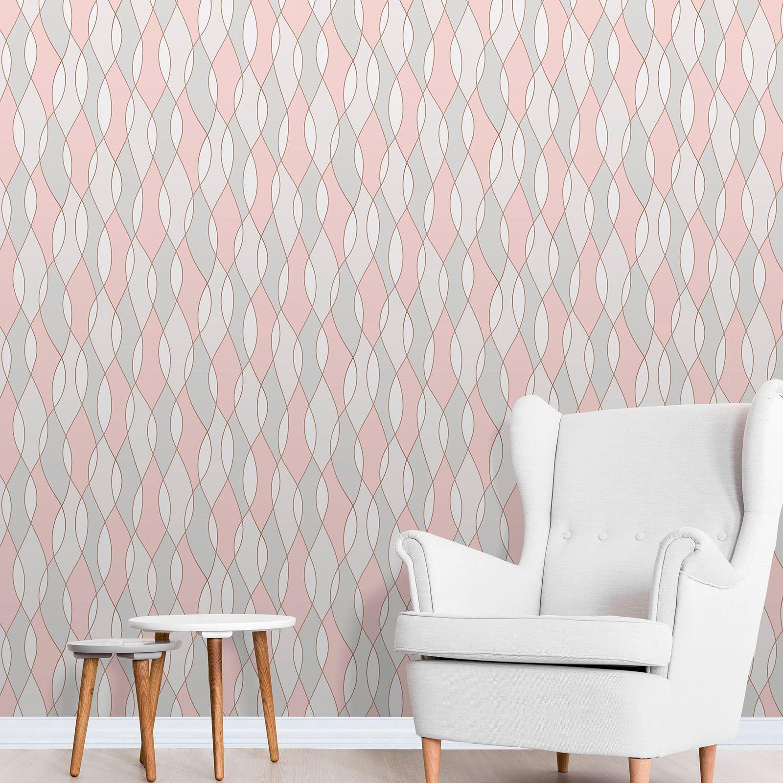 Rose Gold Pink Grey Beige Wallpaper Stripe Geometric