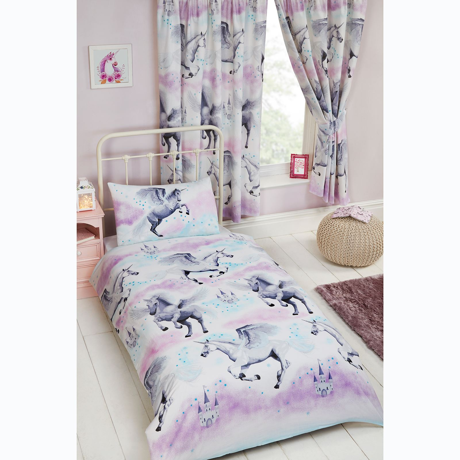 Stardust Unicorn Purple Teal Curtains Amp Duvet Cover Set