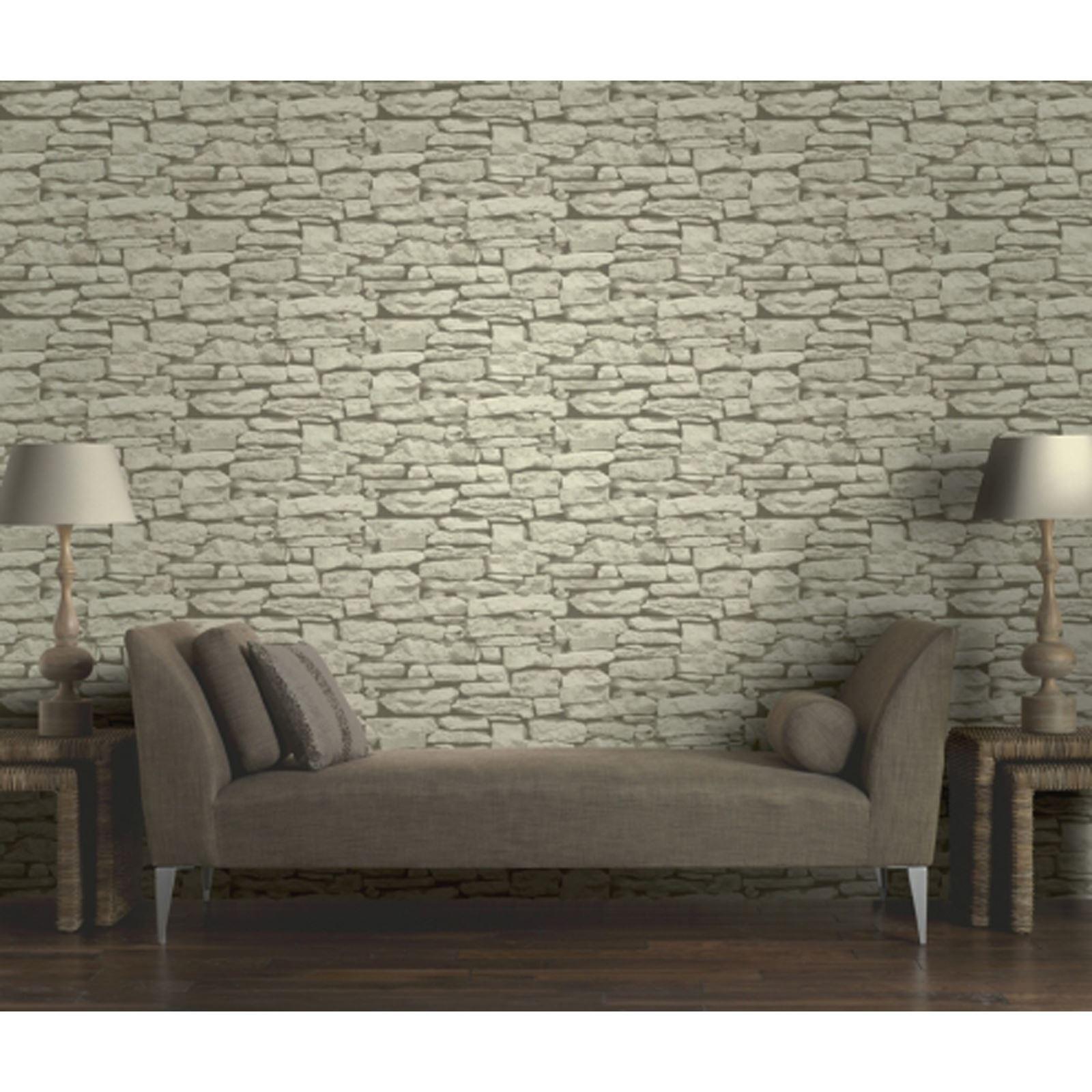 Arthouse Rustic Stone Effect Wallpaper Brick Morrocan