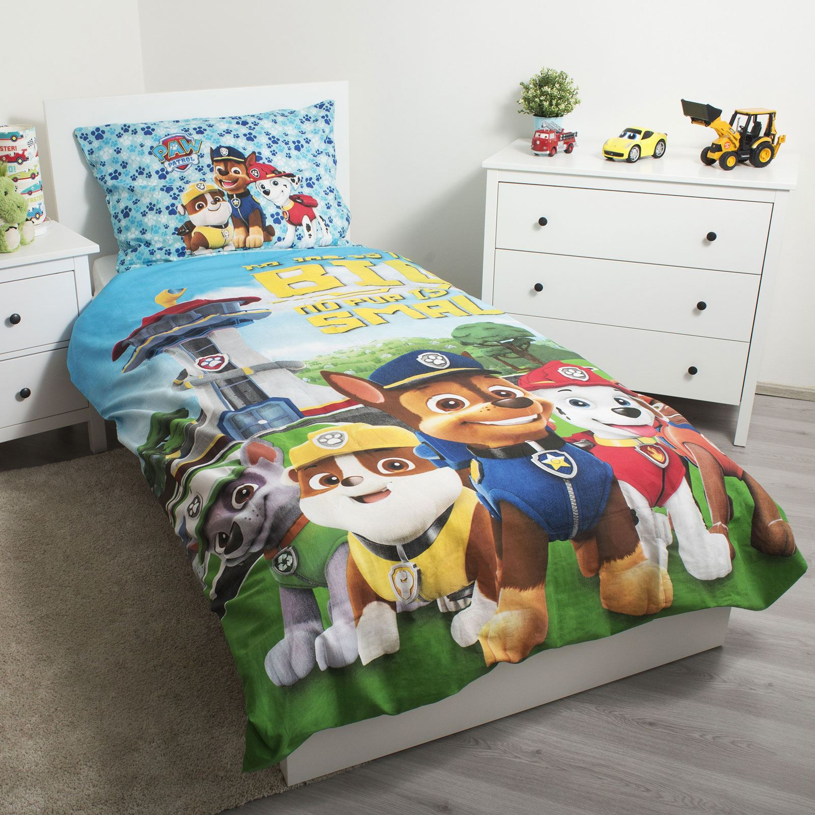 PAW PATROL NO PUP IS TOO SMALL SINGLE DUVET COVER SET EUROPEAN 2 IN 1 DESIGN