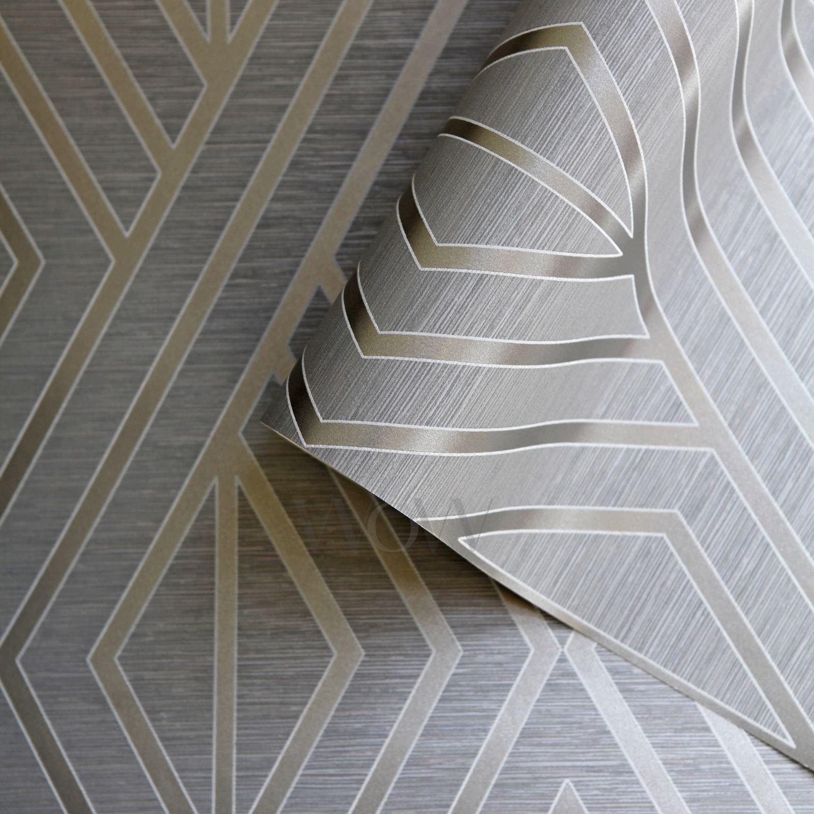 Carta da parati geometrica grigio argento pera albero for Carta parati argento