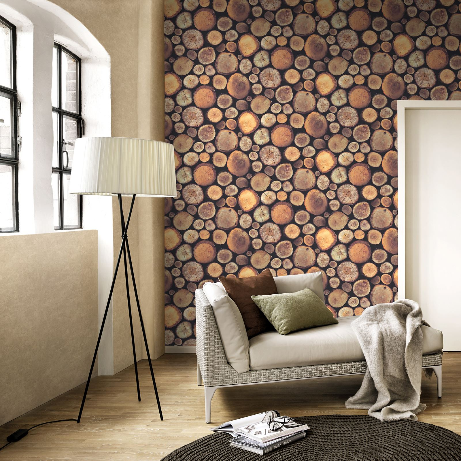 Exclusive wallpapers ebay - Wood effect wallpaper living room ...
