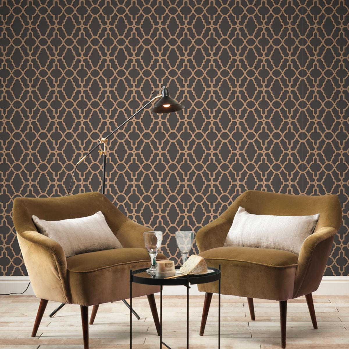 Apex Trellis Sidewall Wallpaper Copper: GEOMETRIC WALLPAPER MODERN DECOR TRIANGLES TRELLIS SILVER