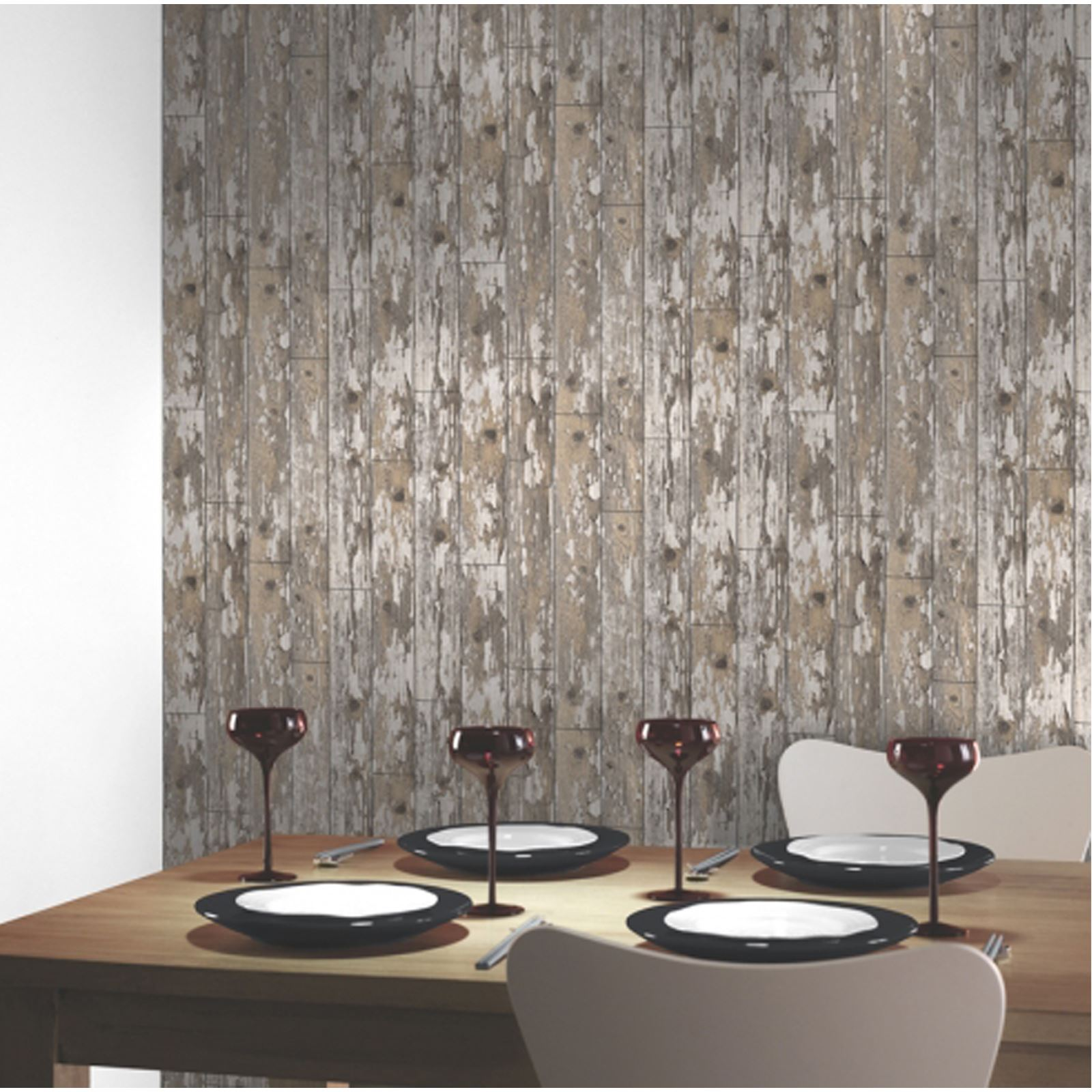 Modern Wooden Wood Wallpaper Feature Wall Whole Room