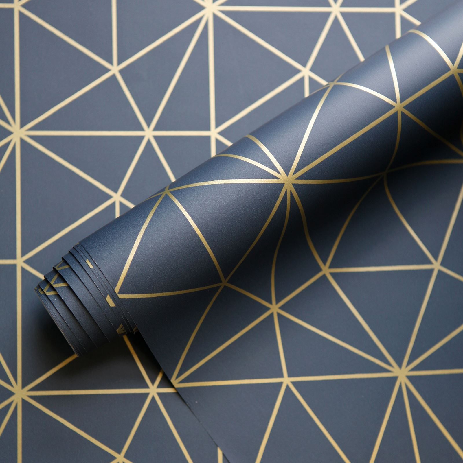 Metro Prism Geometric Triangle Wallpaper Navy Blue Gold