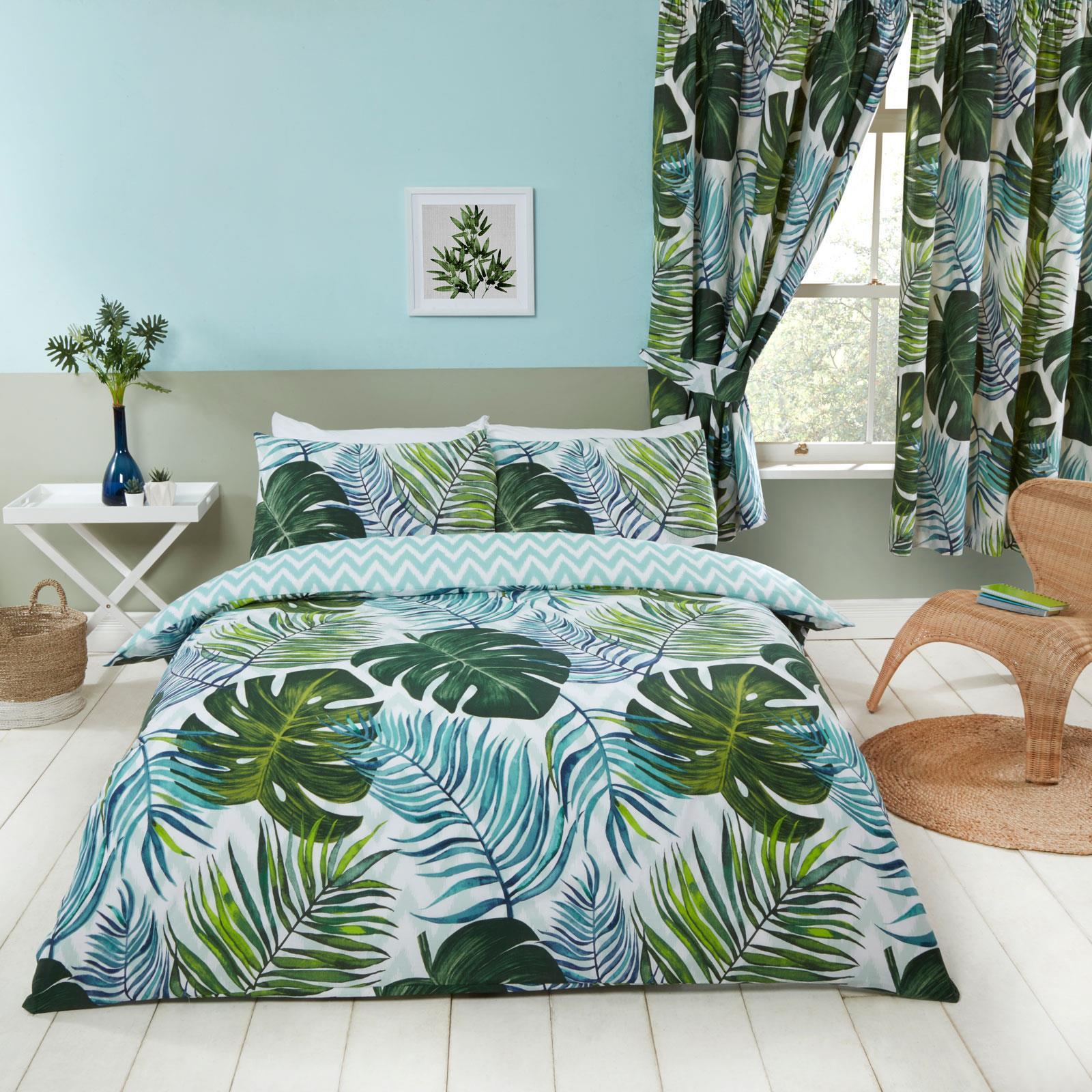 Botanique Les feuilles de palmiers Housse De Couette Double /& Taie D/'oreiller Réversible