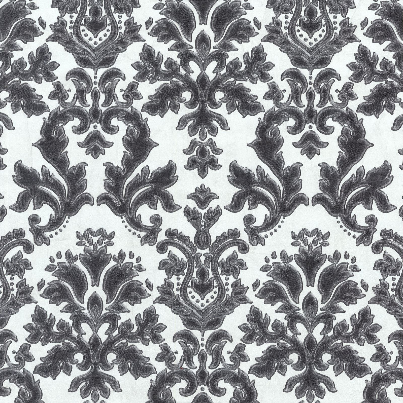Pattern: Flock-100 | Name: Simone Red flocked wallpaper with a ...
