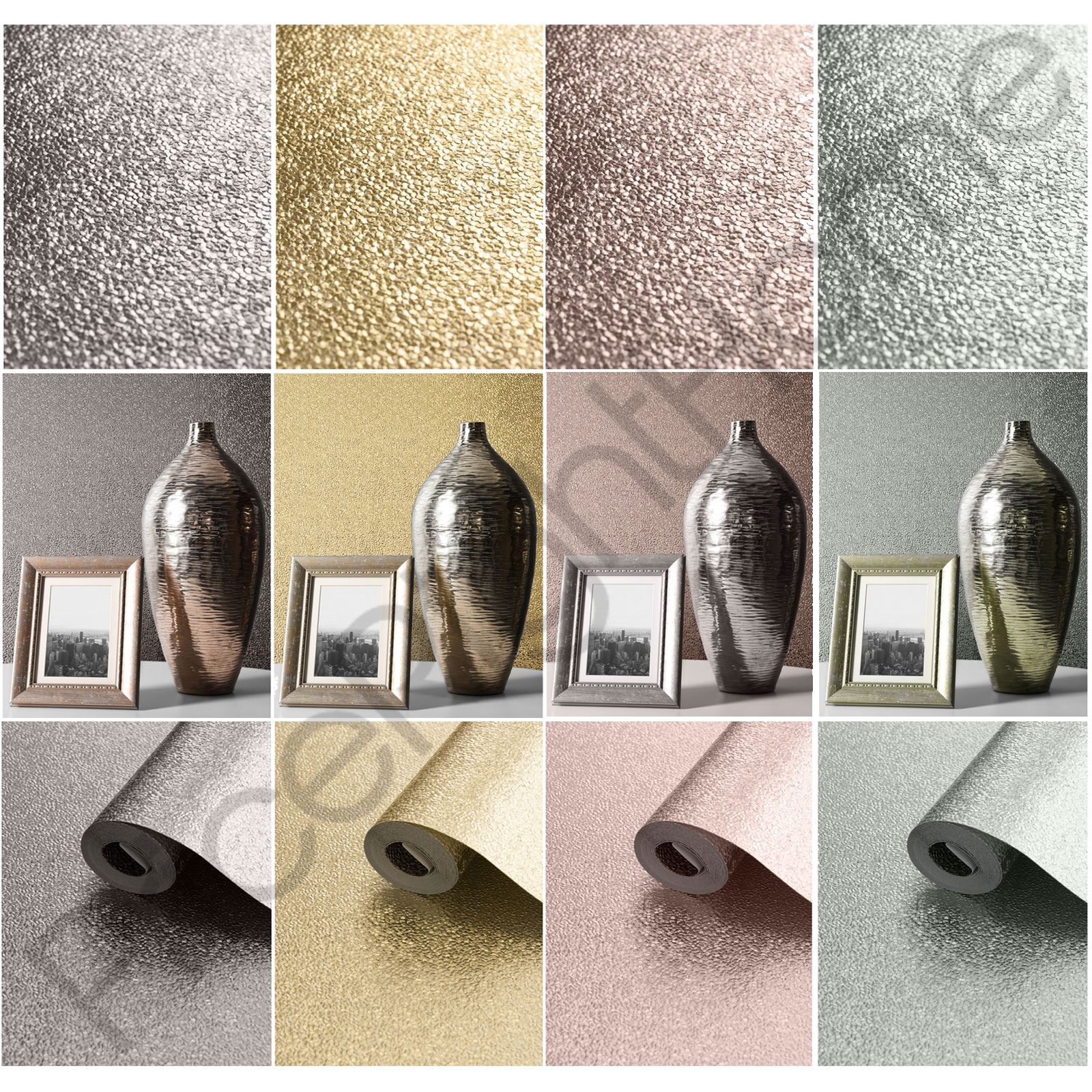 Details About Muriva Amelia Metallic Textured Wallpaper Grey Pink Silver Rose Gold Duck Egg