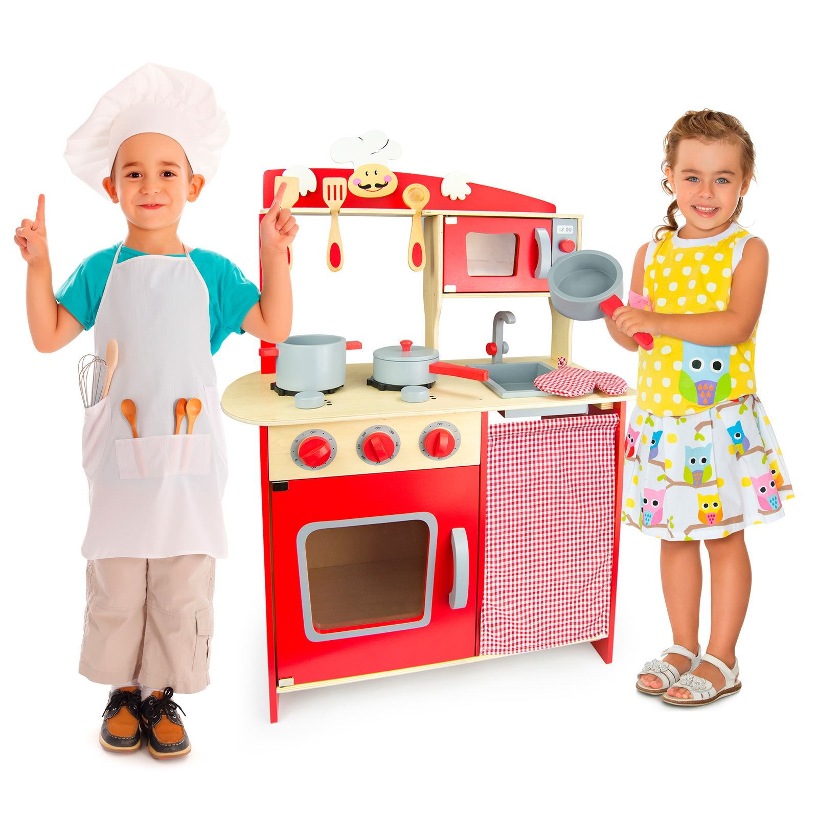 Kitchen Accessories Newcastle: KIDS WOODEN 'CHEF' KITCHEN RED WITH ACCESSORIES By LEOMARK
