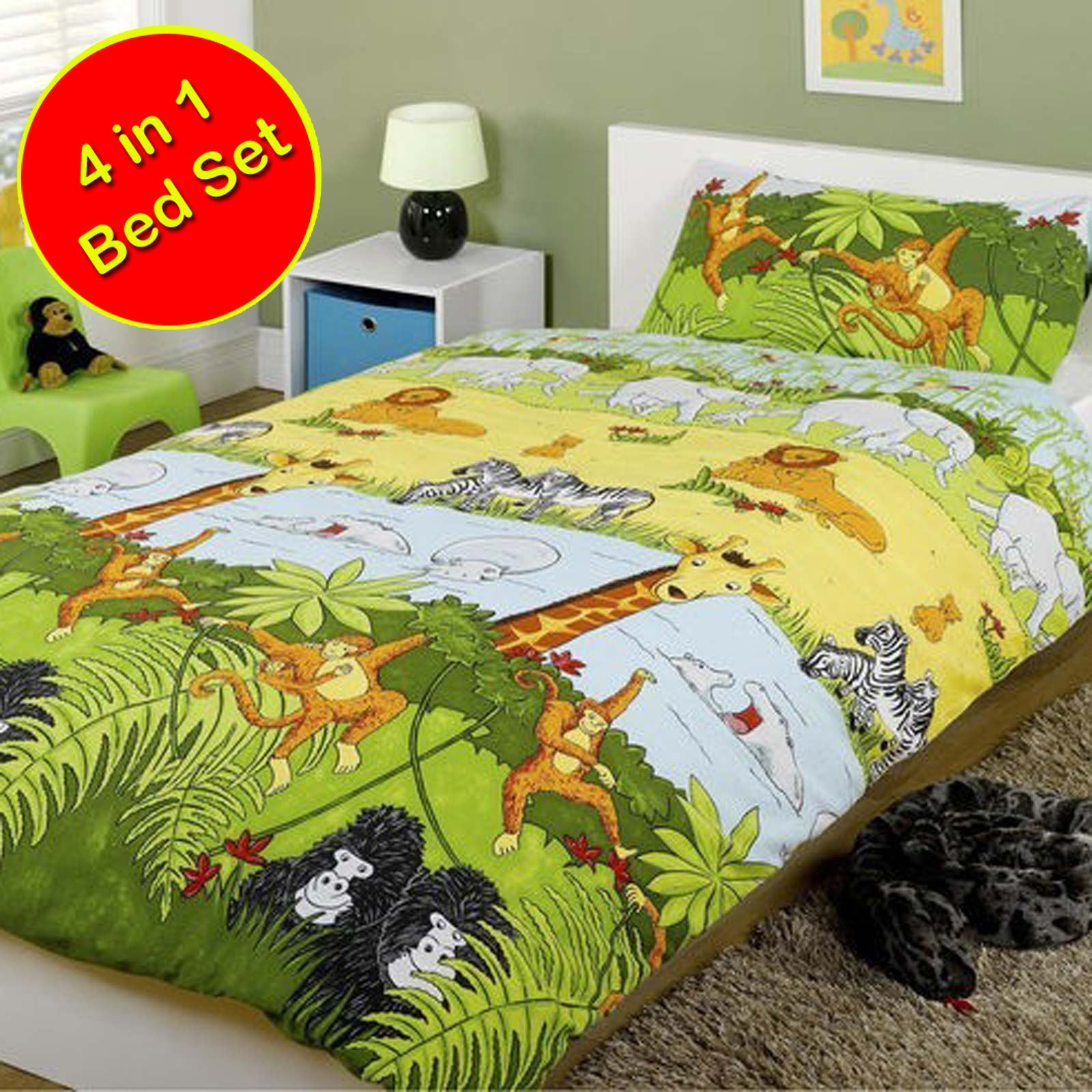 jungle themed furniture. JUNGLE-THEMED-DUVET-COVERS-KIDS-CHILDRENS-ANIMALS-SINGLE- Jungle Themed Furniture A