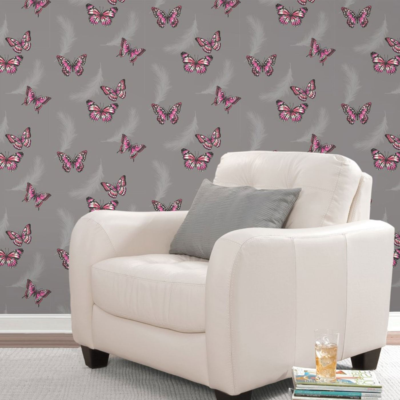 Bedroom Bed Photo Glitter Bedroom Accessories Pink Accent Wall Bedroom Bedroom Bench Decor: BUTTERFLY WALLPAPER GIRLS BEDROOM DECOR PINK WHITE TEAL
