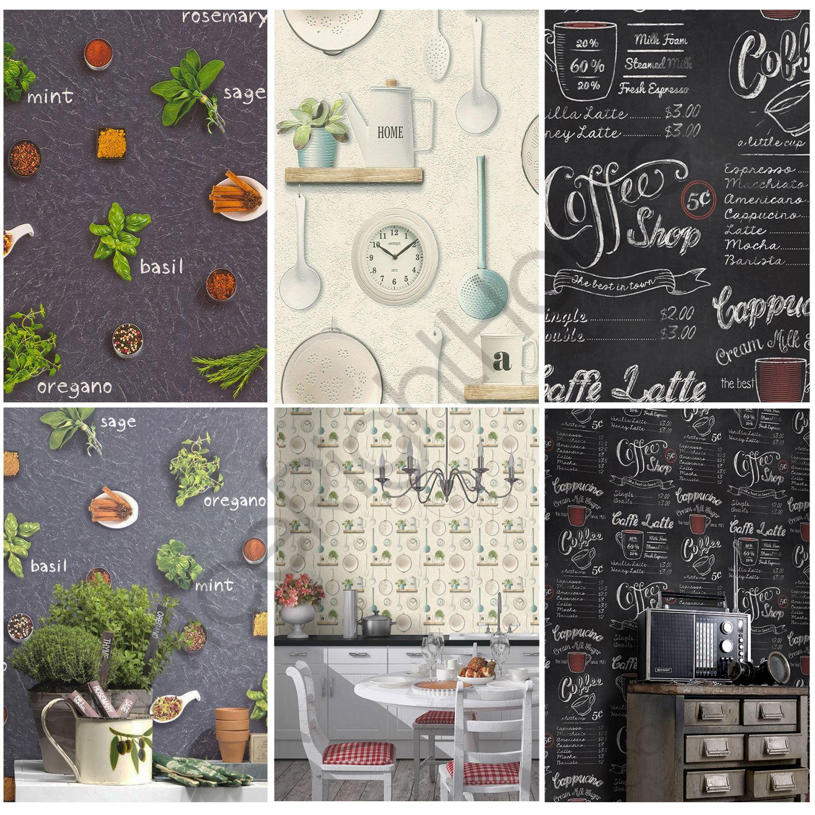 Rasch Küche inspiriert Tapete Café Küche Utensilien Kräuter Gewürze ...