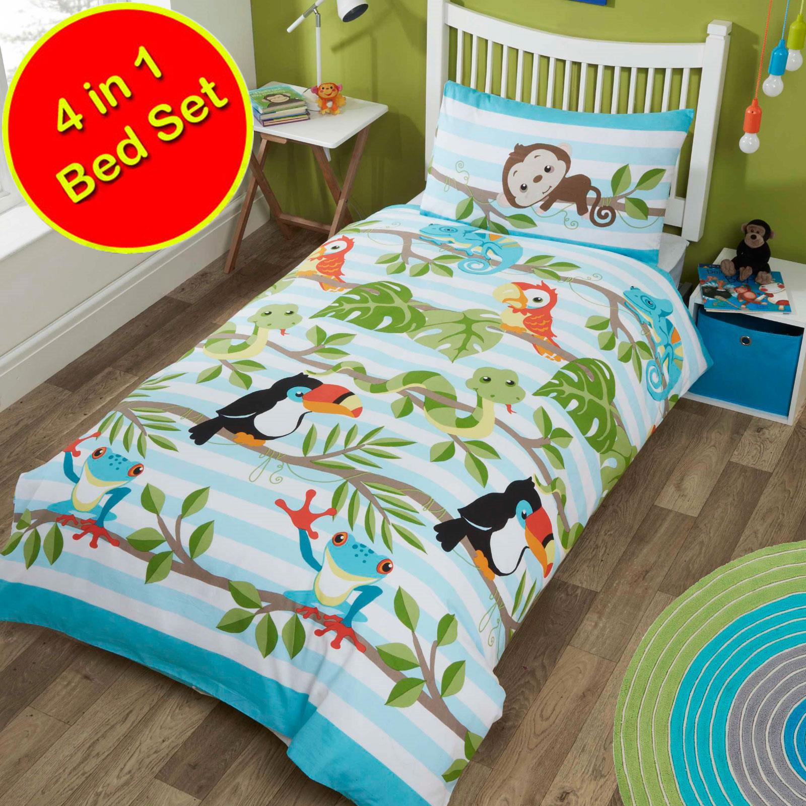 4 In 1 Junior Toddler Bedding Set Duvet Cover Quilt Pillow Blue Pink Character