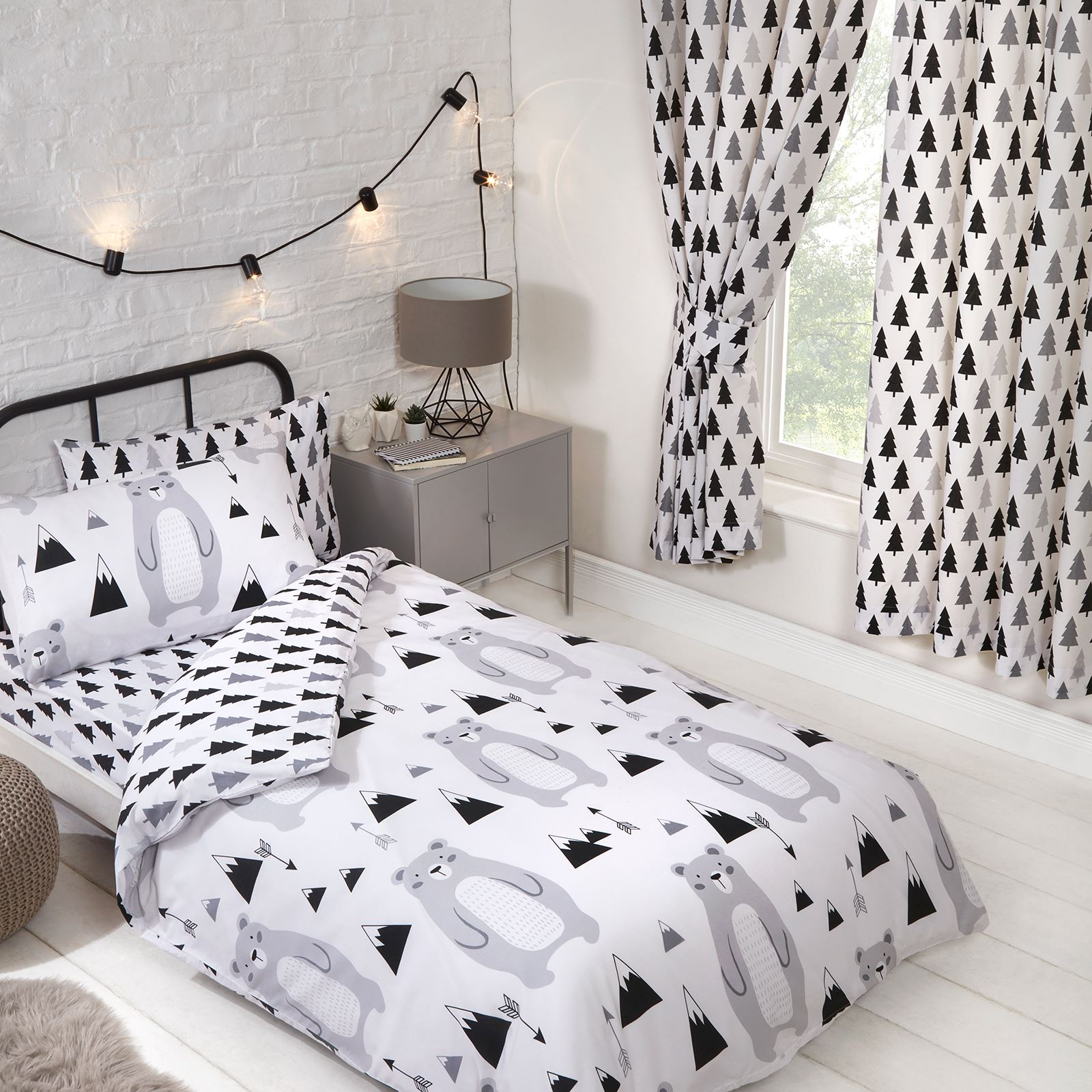 Scandi Bear Forest Single Duvet Cover Set Boys Girls