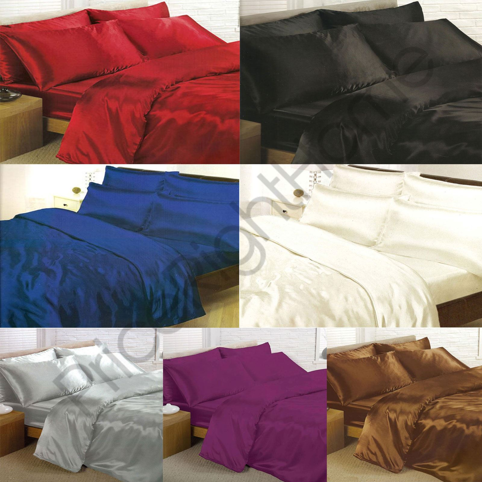 satin bedding sets duvet cover fitted sheet pillowcases. Black Bedroom Furniture Sets. Home Design Ideas