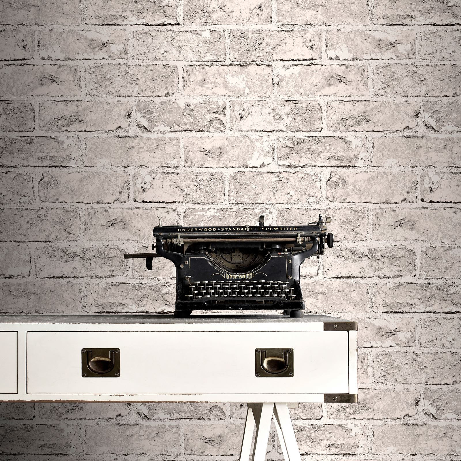 RASCH BRICK EFFECT WALLPAPER - BLACK, GREY, RED FEATURE ...
