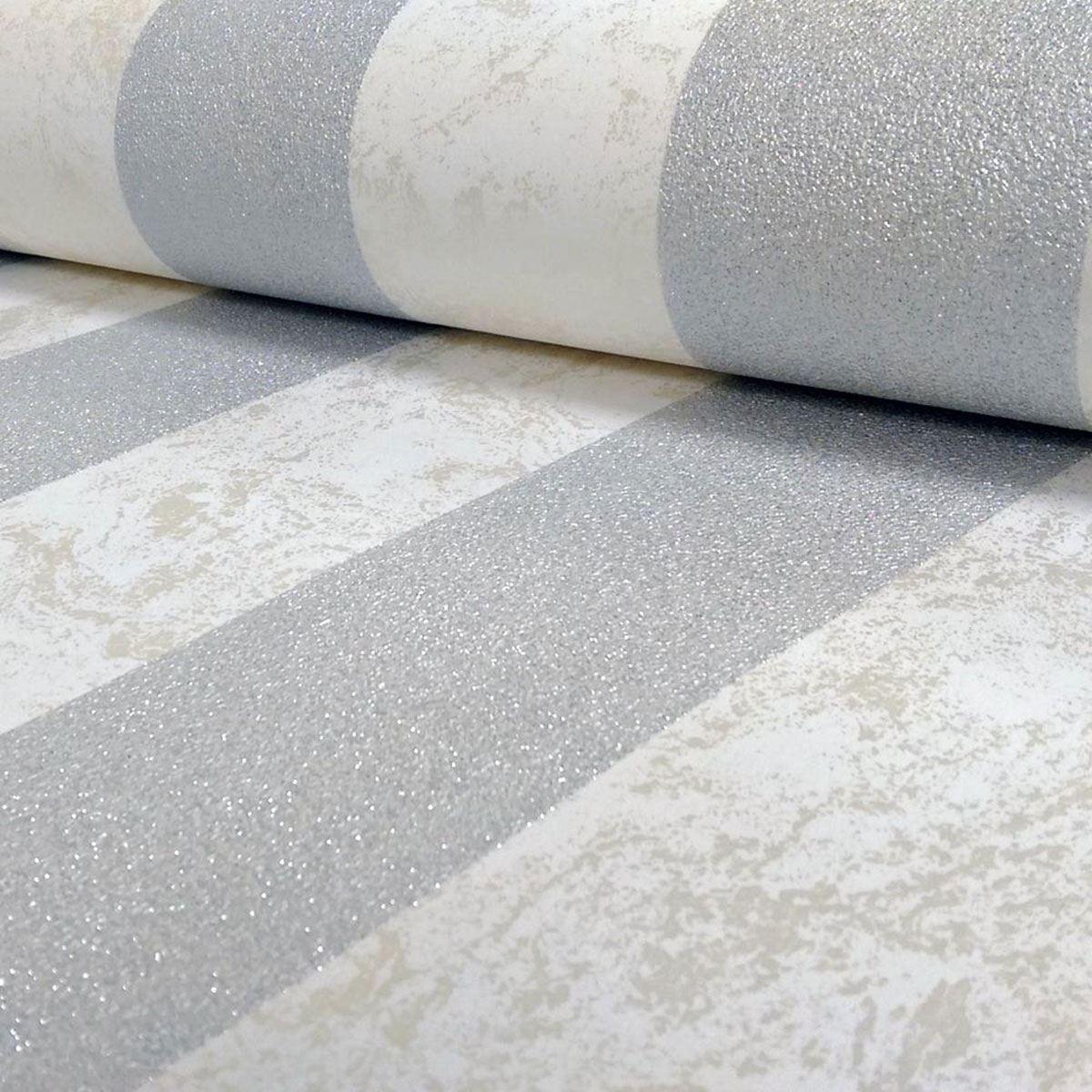 Carat Glitter Stripe Wallpaper 13346 20 Cream Silver Bedroom Wall Decor