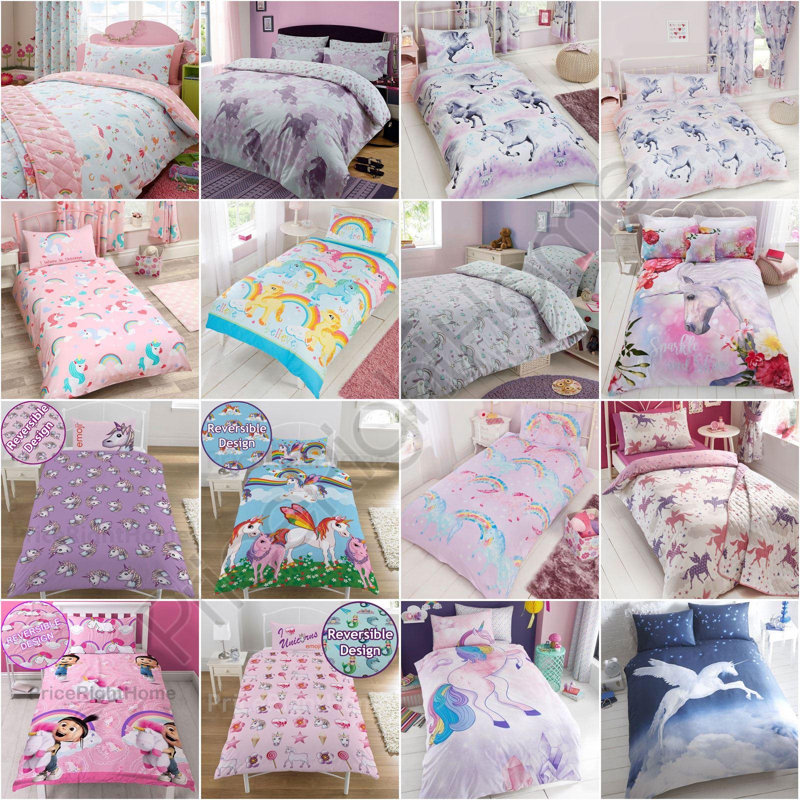Unicorn Duvet Cover Sets Kids Girls Bedding  Junior, Single,