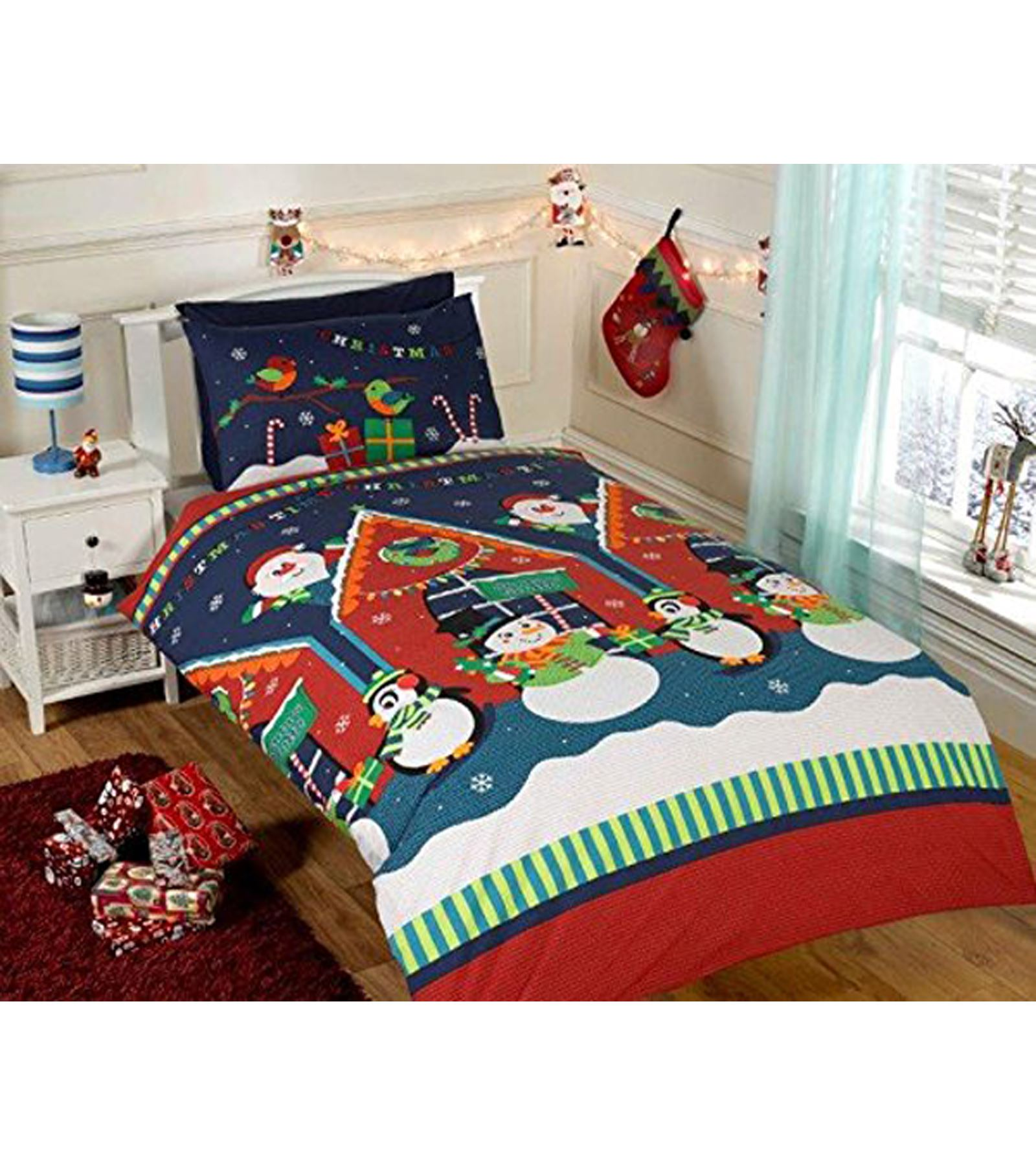 Christmas 2017 Bedding Duvet Cover Bright Colourful Festive Xmas ...