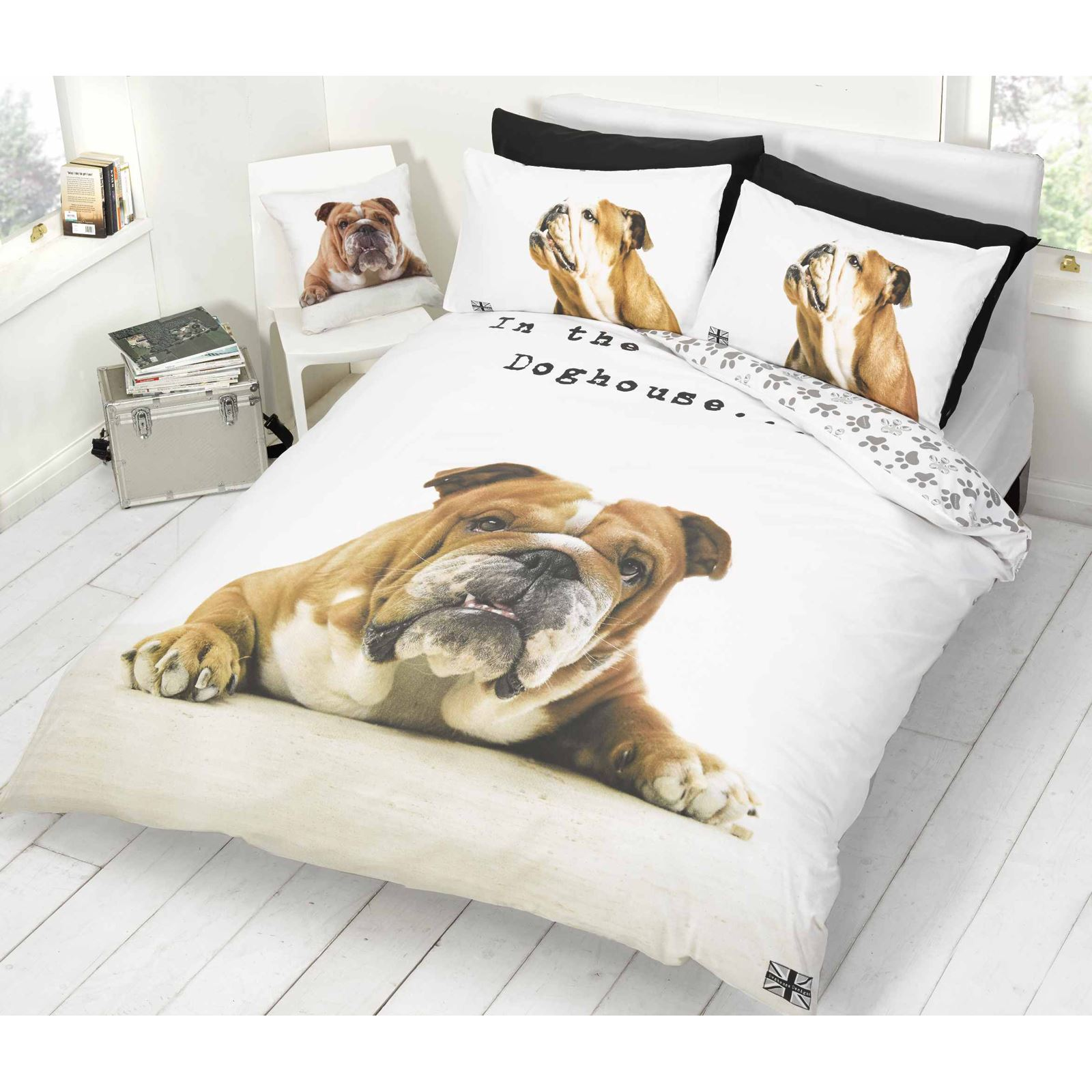 BARRY BULLDOG DUVET COVER SET ANIMAL PRINT DOG BEDDING   SINGLE U0026 DOUBLE |  EBay