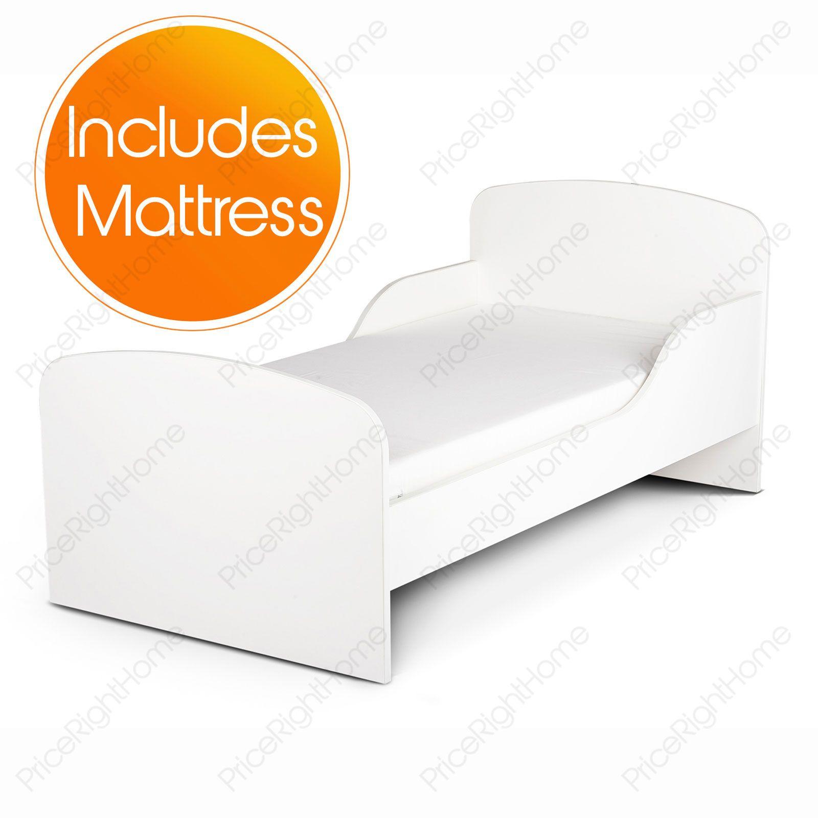 plain wei mdf kleinkind bett neue matratze ebay. Black Bedroom Furniture Sets. Home Design Ideas
