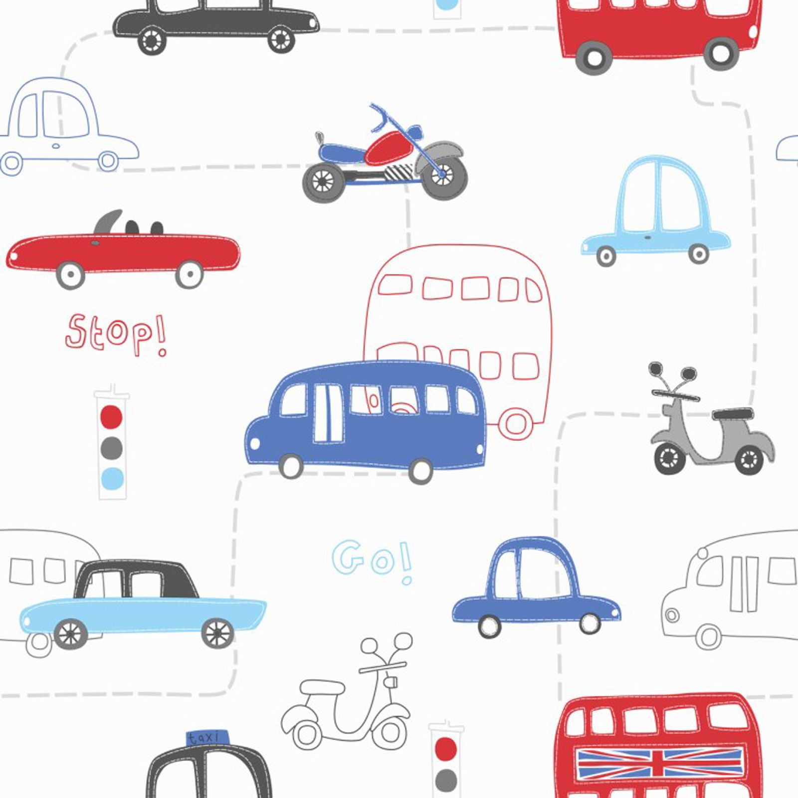 TRANSPORT AND VEHICLES THEMED WALLPAPER & BORDERS BEDROOM