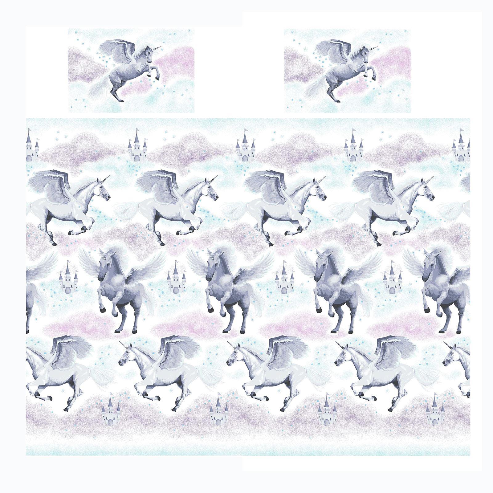 Stardust-Unicornio-Azul-Rosa-Cortinas-amp-Juego-Funda-Edredon-Menor-Simple-Doble miniatura 50