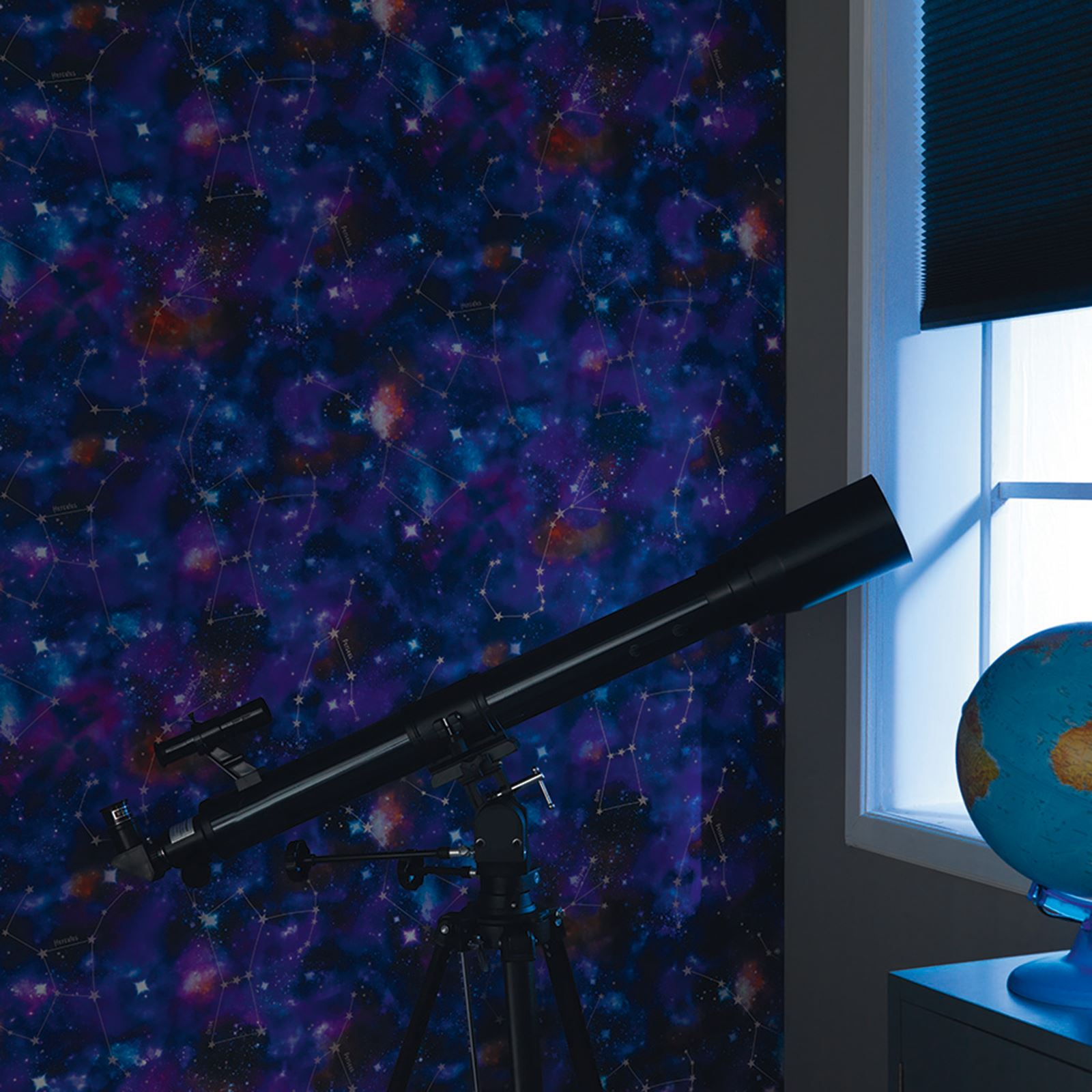 cosmic space spaceman wallpaper available in black & blue / purple
