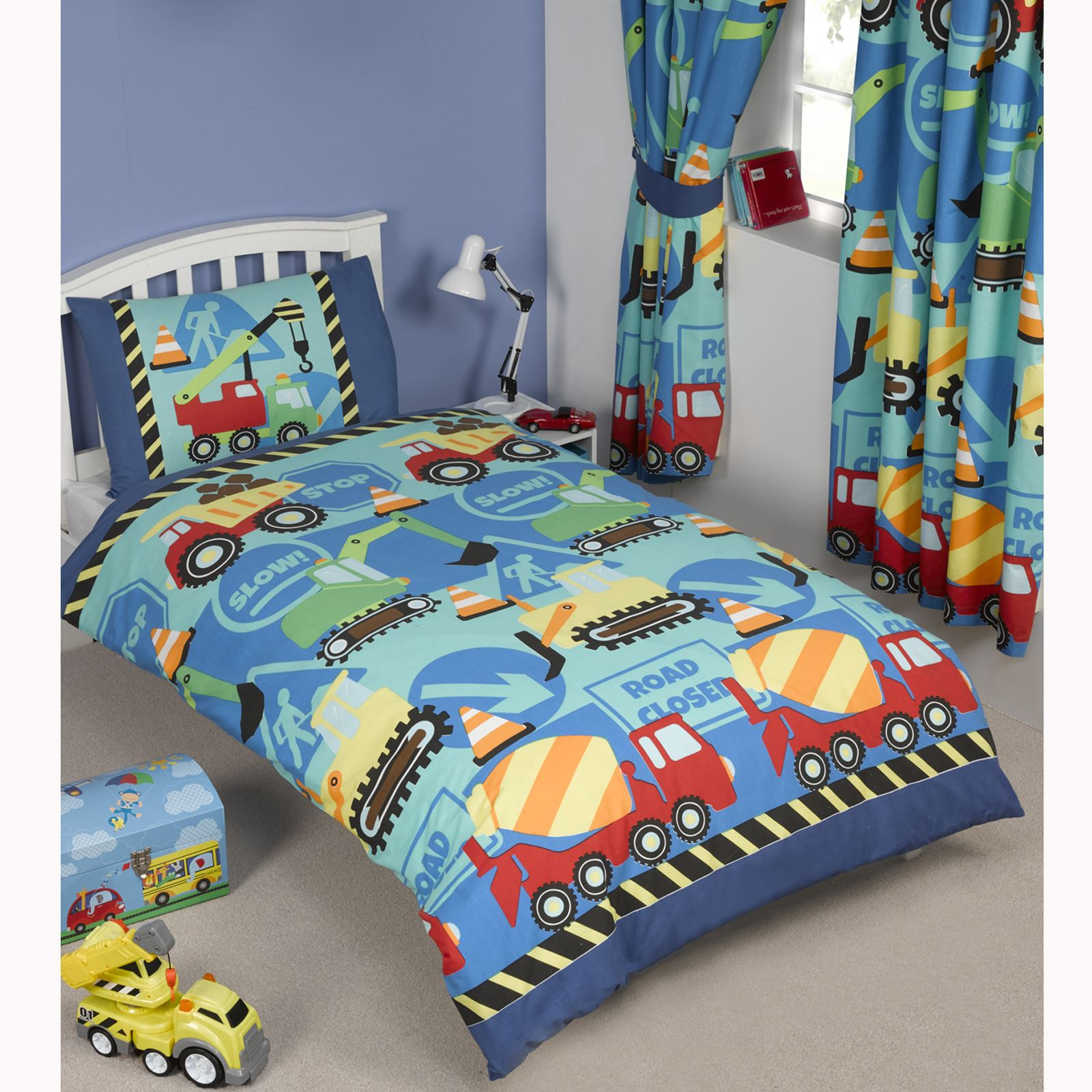 Construction Time Diggers Boys Curtains Duvet Covers