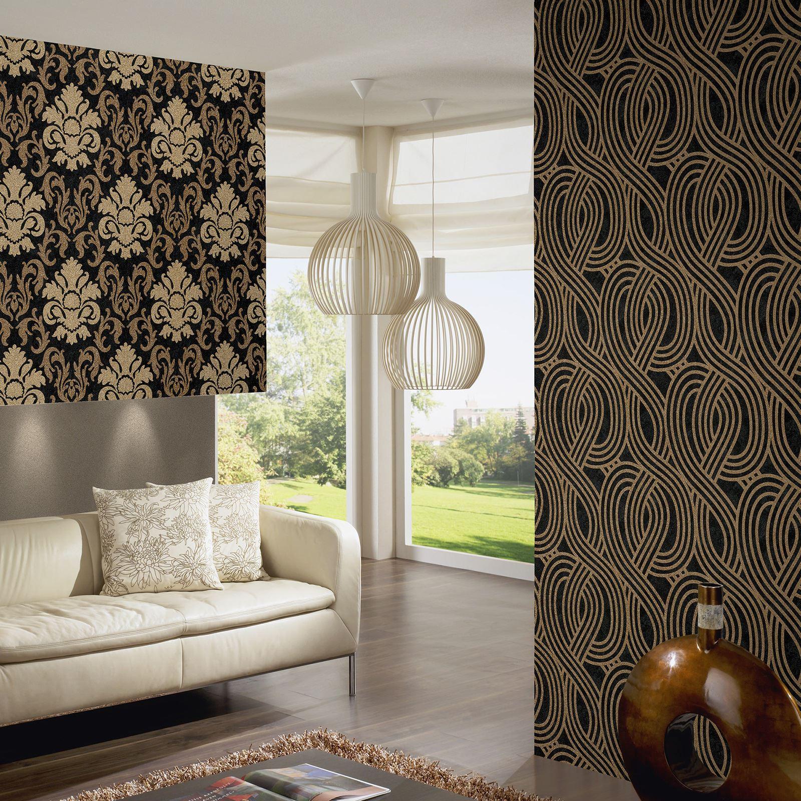 p s karat geometrisch glitzer tapete schwarz gold 13345 80 wand dekoration ebay. Black Bedroom Furniture Sets. Home Design Ideas