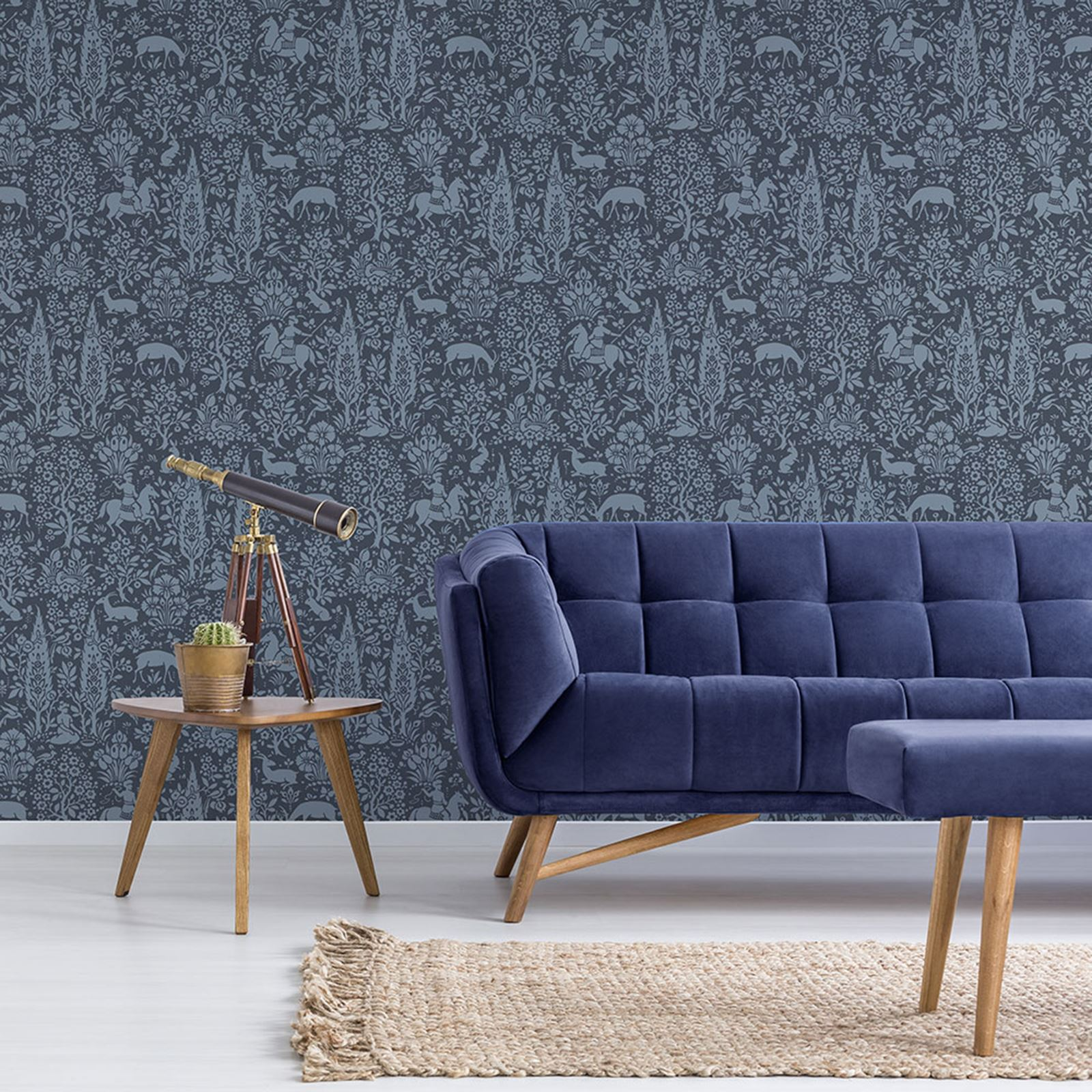archive wald tapete dunkelblau krone m1169 blumenmuster. Black Bedroom Furniture Sets. Home Design Ideas