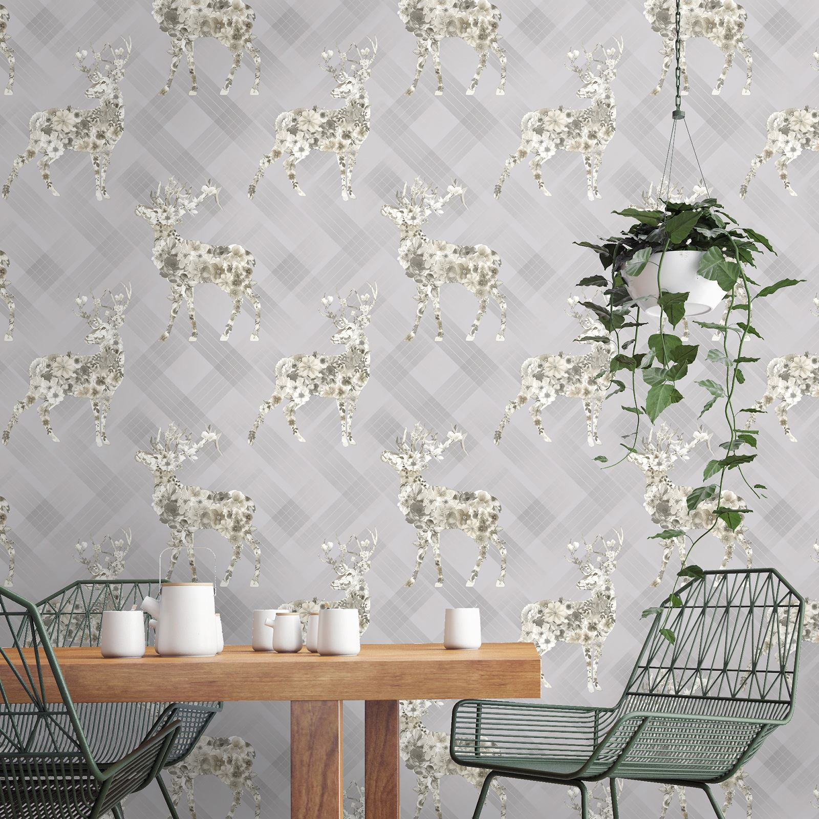 Floral Black And Grey Nature Tattoo: STAG WALLPAPER - FLORAL NATURE FEATURE WALL GREY