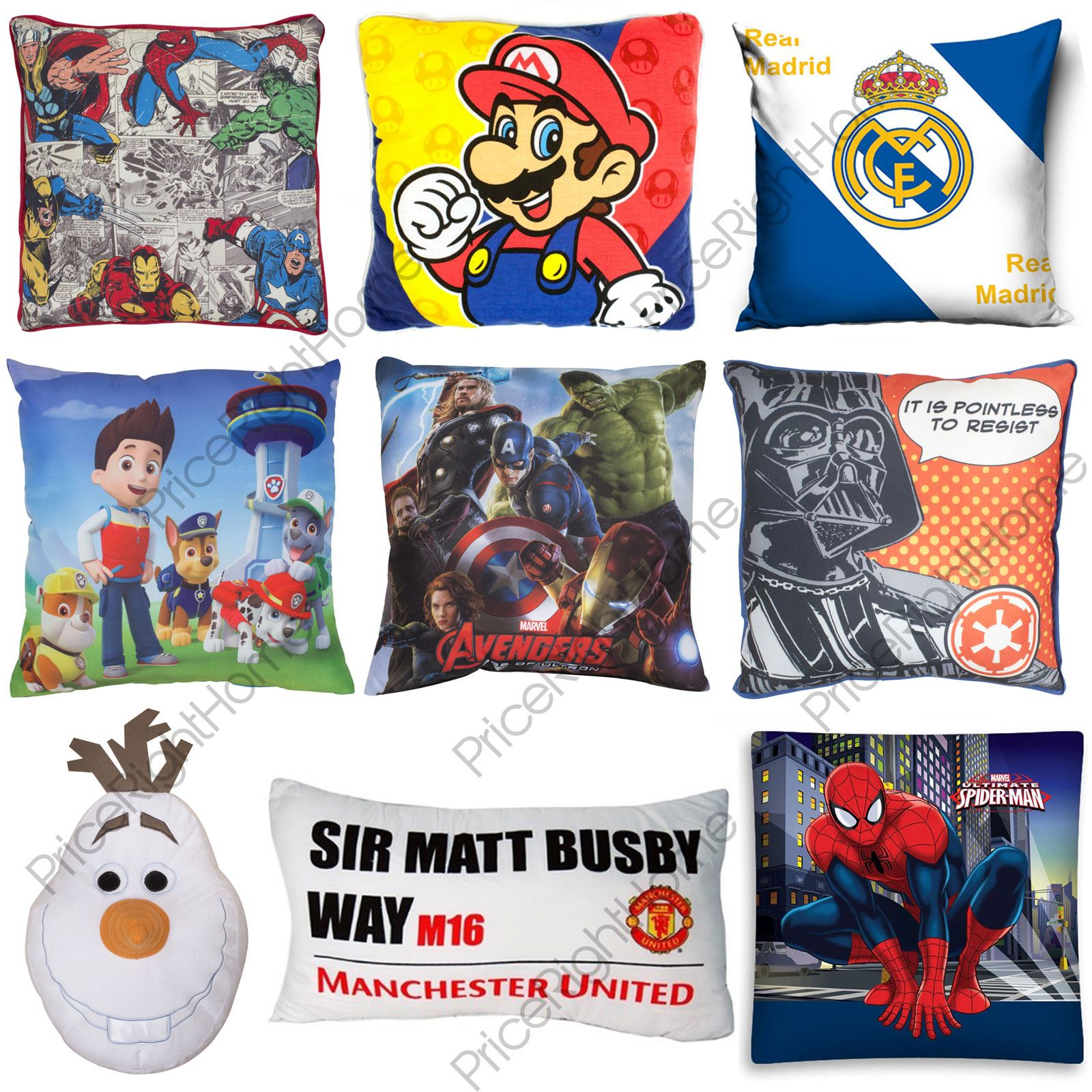 DISNEY CHARACTER + FOOTBALL BOYS KIDS CUSHIONS BEDROOM MARVEL PAW ...
