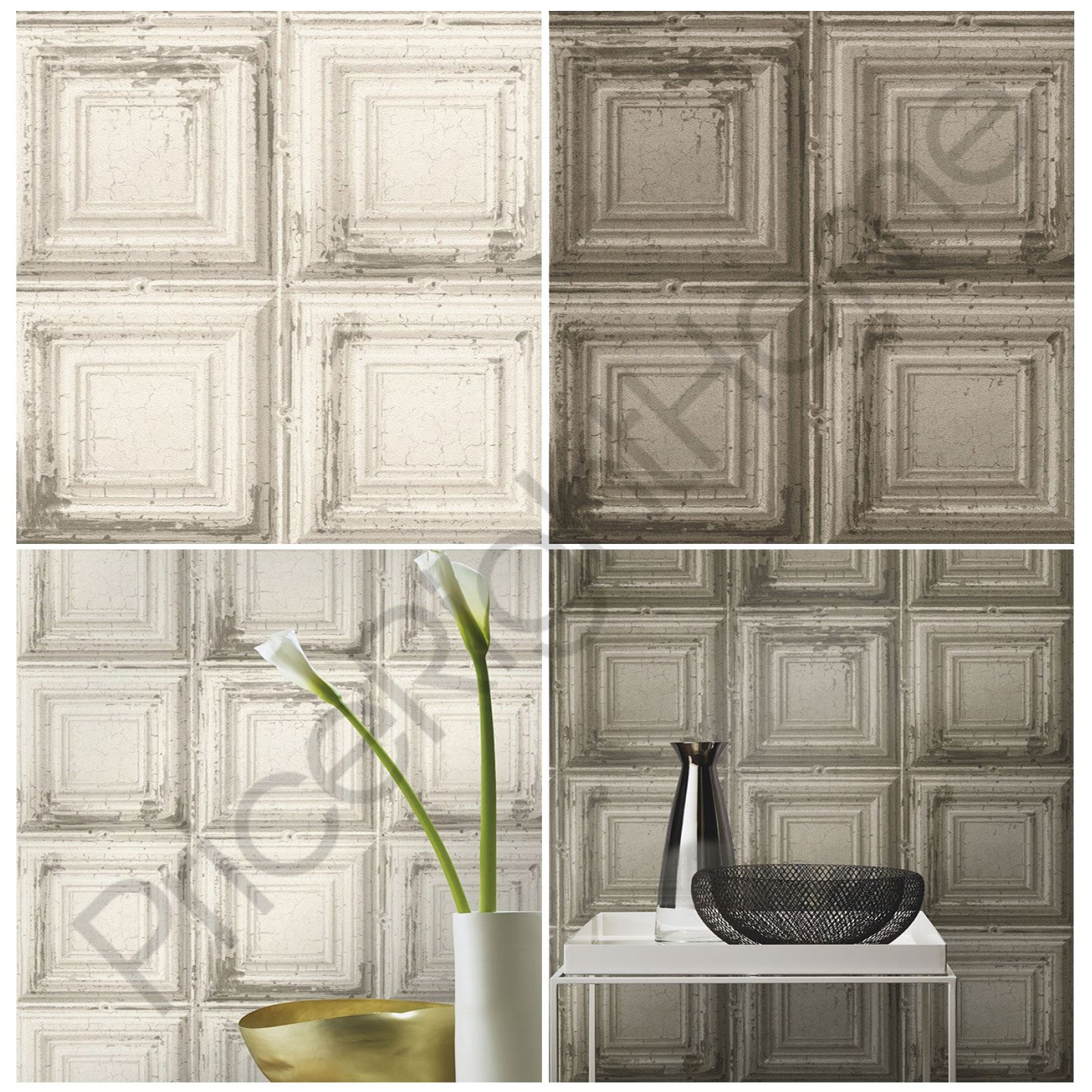 Rasch distressed wood panel wallpaper grey white for Panel wallpaper