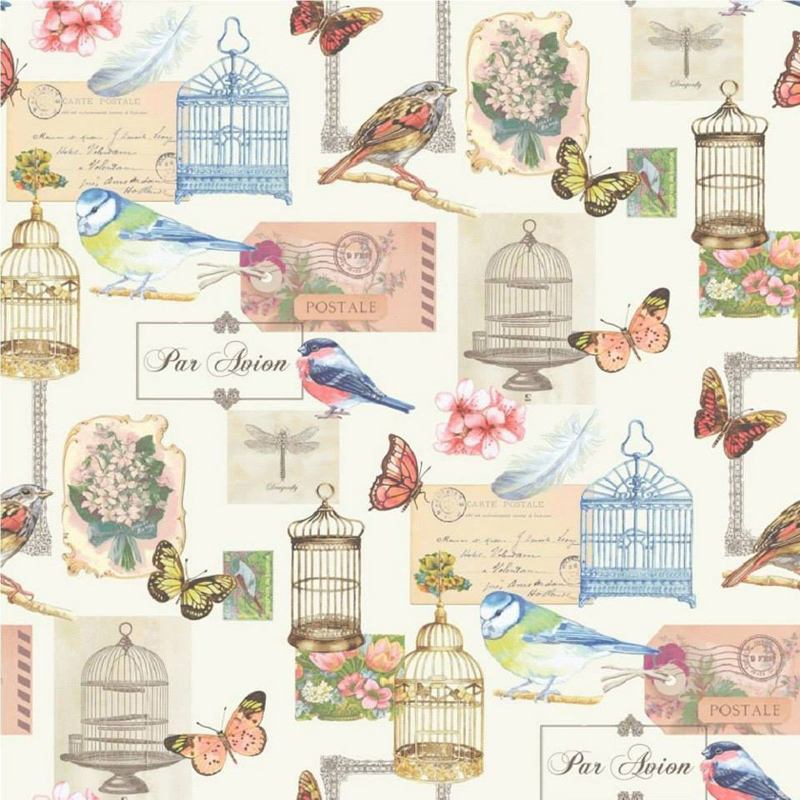 Shabby chic floral wallpaper in various designs wall decor new free p p ebay - Papier peint shabby chic ...