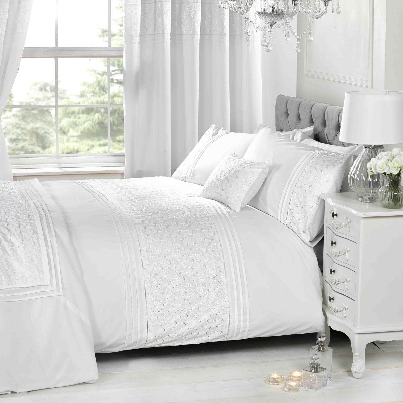 EVERDEAN FLORAL WHITE SUPER KING SIZE DUVET COVER SET LUXURY