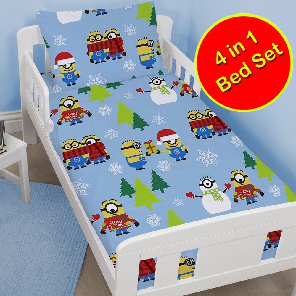 bebe-enfant-junior-4-En-1-ensemble-de-LITERIE-Housse-Couette-oreiller-Disney