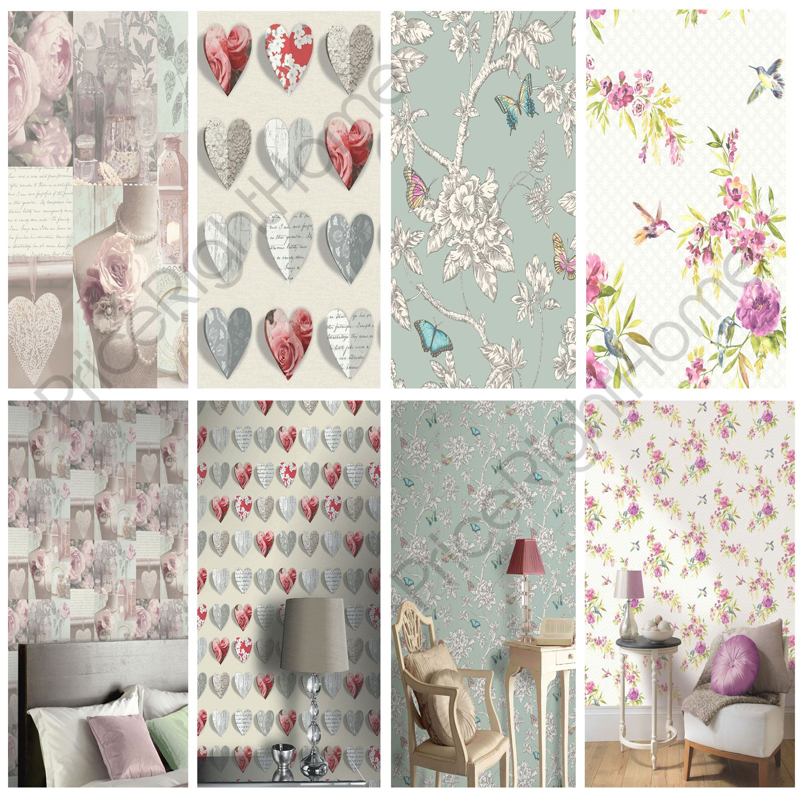 shabby chic floral wallpaper in various designs wall decor new free p p ebay. Black Bedroom Furniture Sets. Home Design Ideas