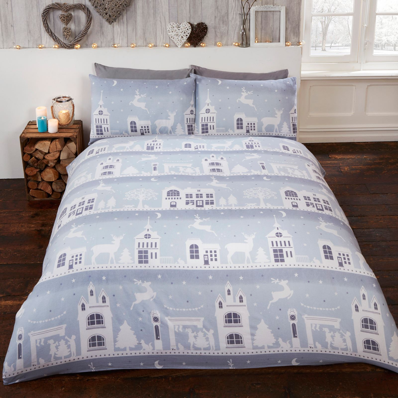 christmas festive duvet cover sets bedding adults single double king size ebay. Black Bedroom Furniture Sets. Home Design Ideas