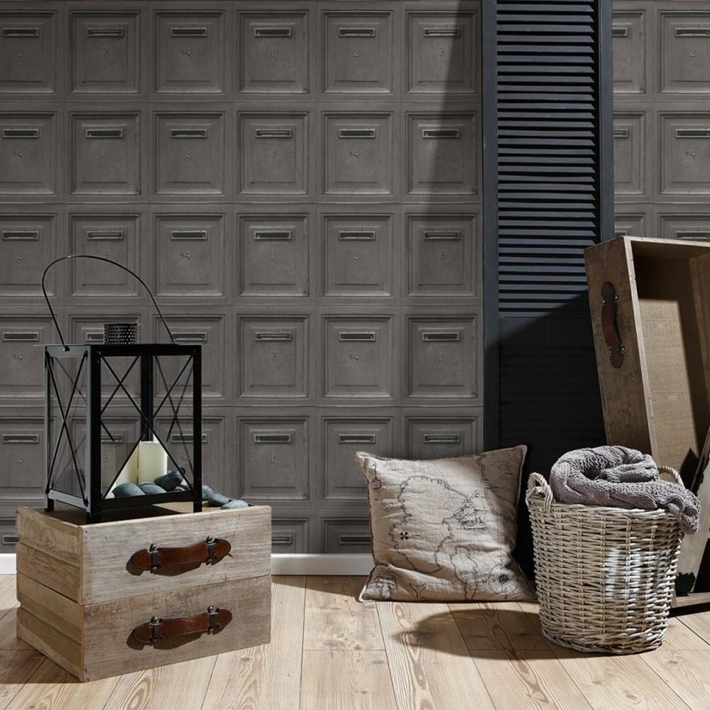 AS CREATION VINTAGE MAIL BOX WALLPAPER FEATURE WALL