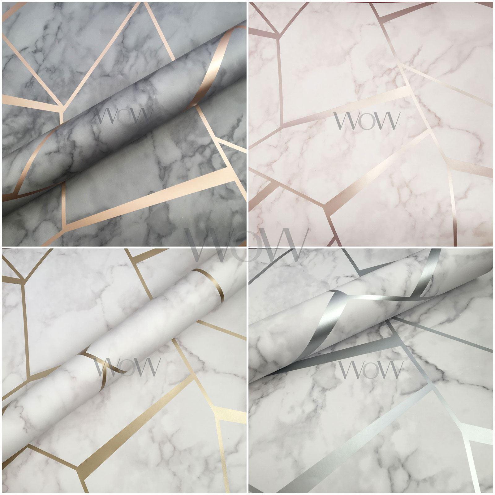 Fine Decor Fraktale Geometrisch Marmor Metallische Tapeten